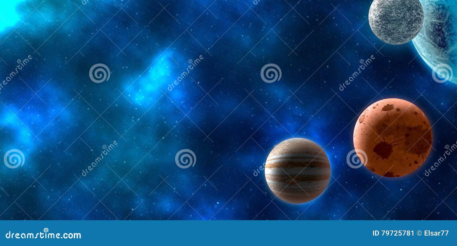 Planetas sobre las nebulosas en espacio