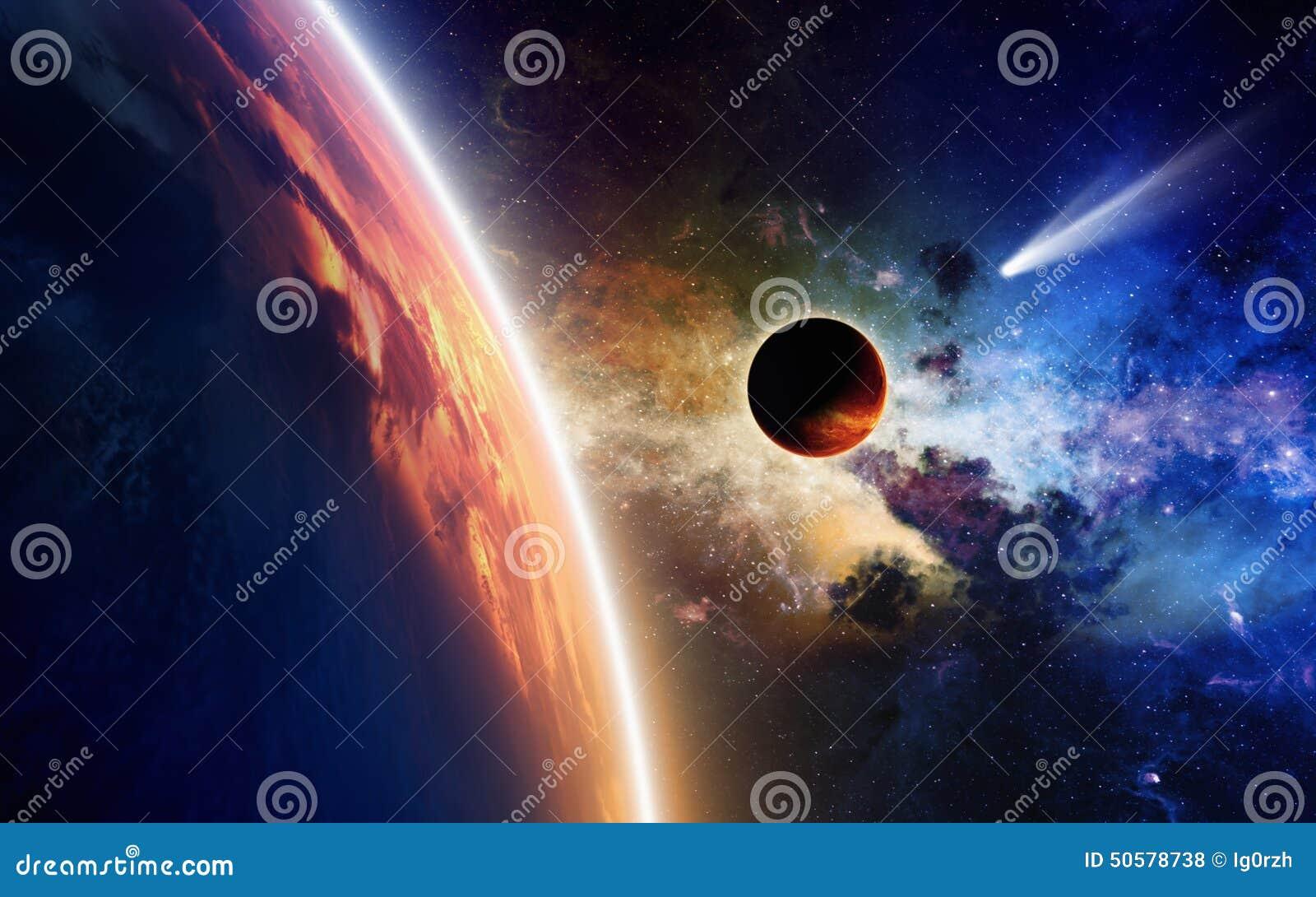 Planeten en komeet in ruimte