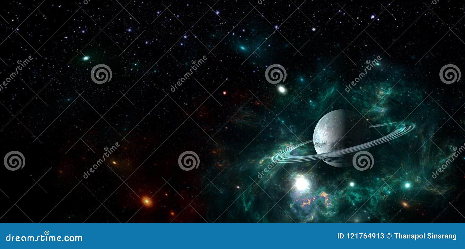 Planeten en melkweg, science fictionbehang Schoonheid van diepe ruimte