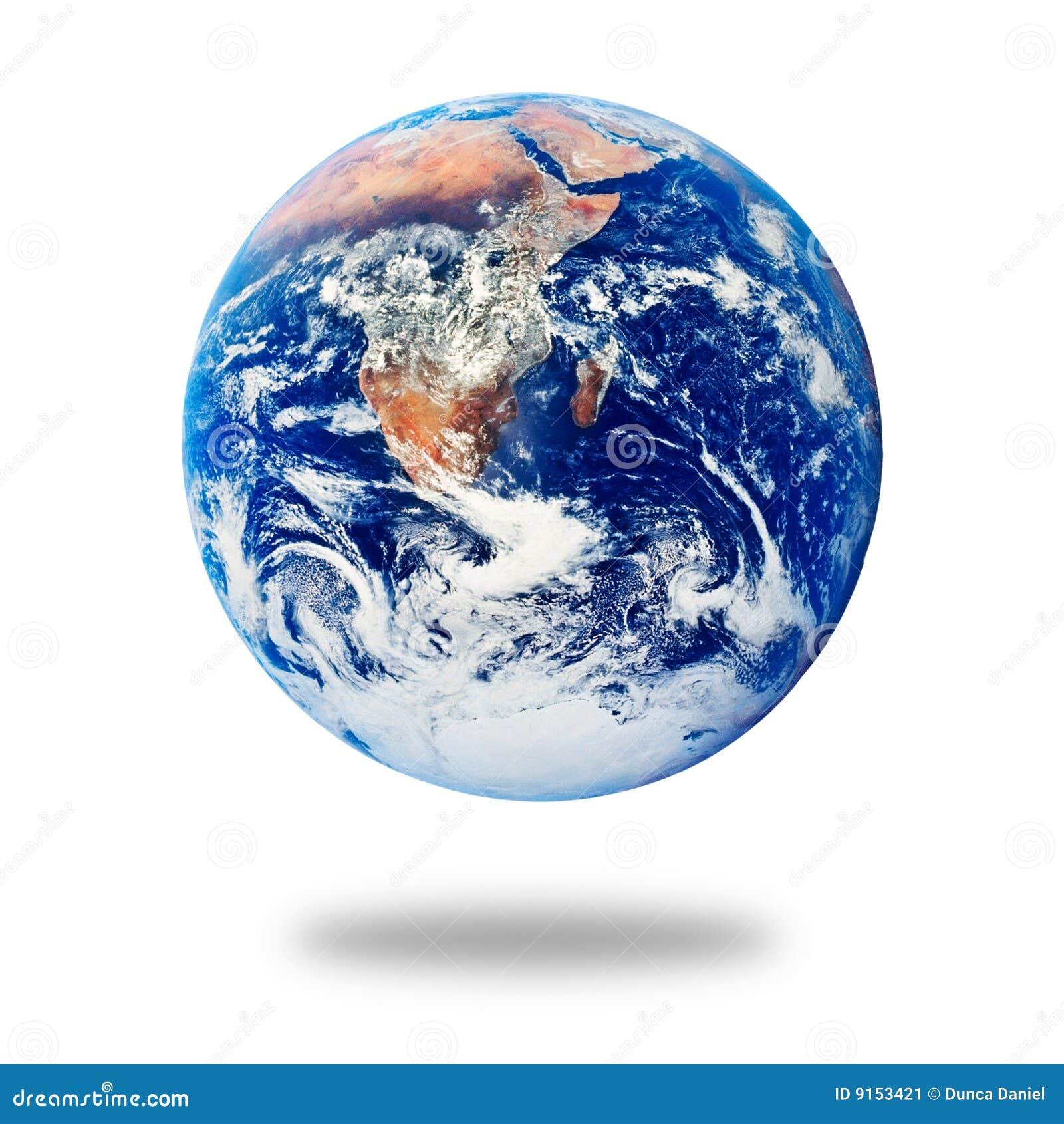 Planeten-Erde getrennt auf Weiß