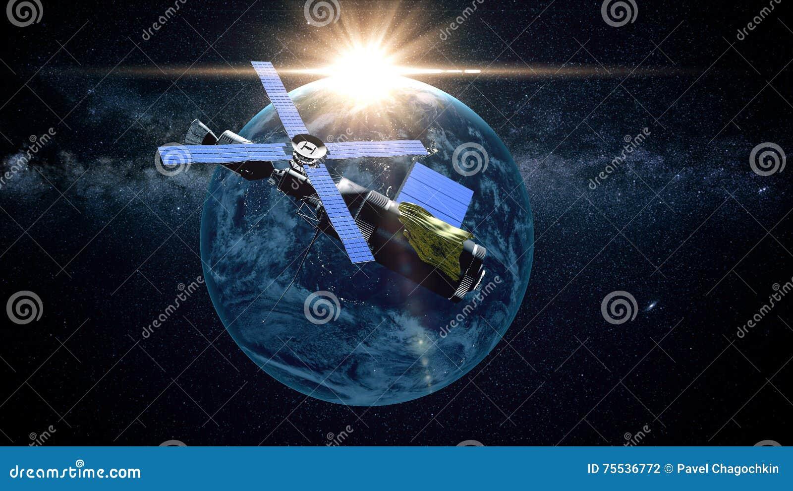Planeten-Erde, wie vom Raum gesehen Mit Sternhintergrund Wiedergabe 3d