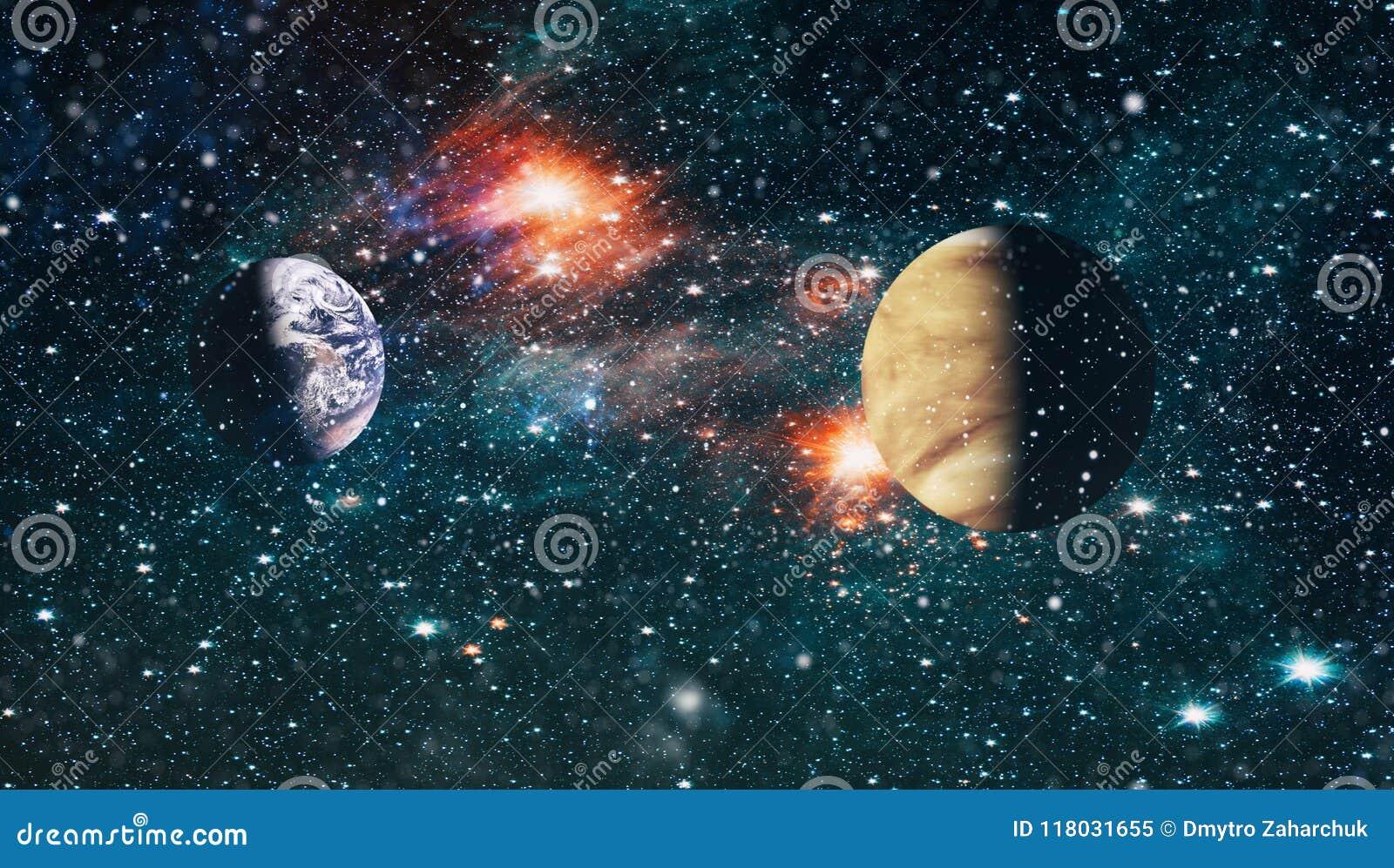 Planeten, Sterne und Galaxien im Weltraum, der die Schönheit der Raumforschung zeigt Elemente geliefert von der NASA