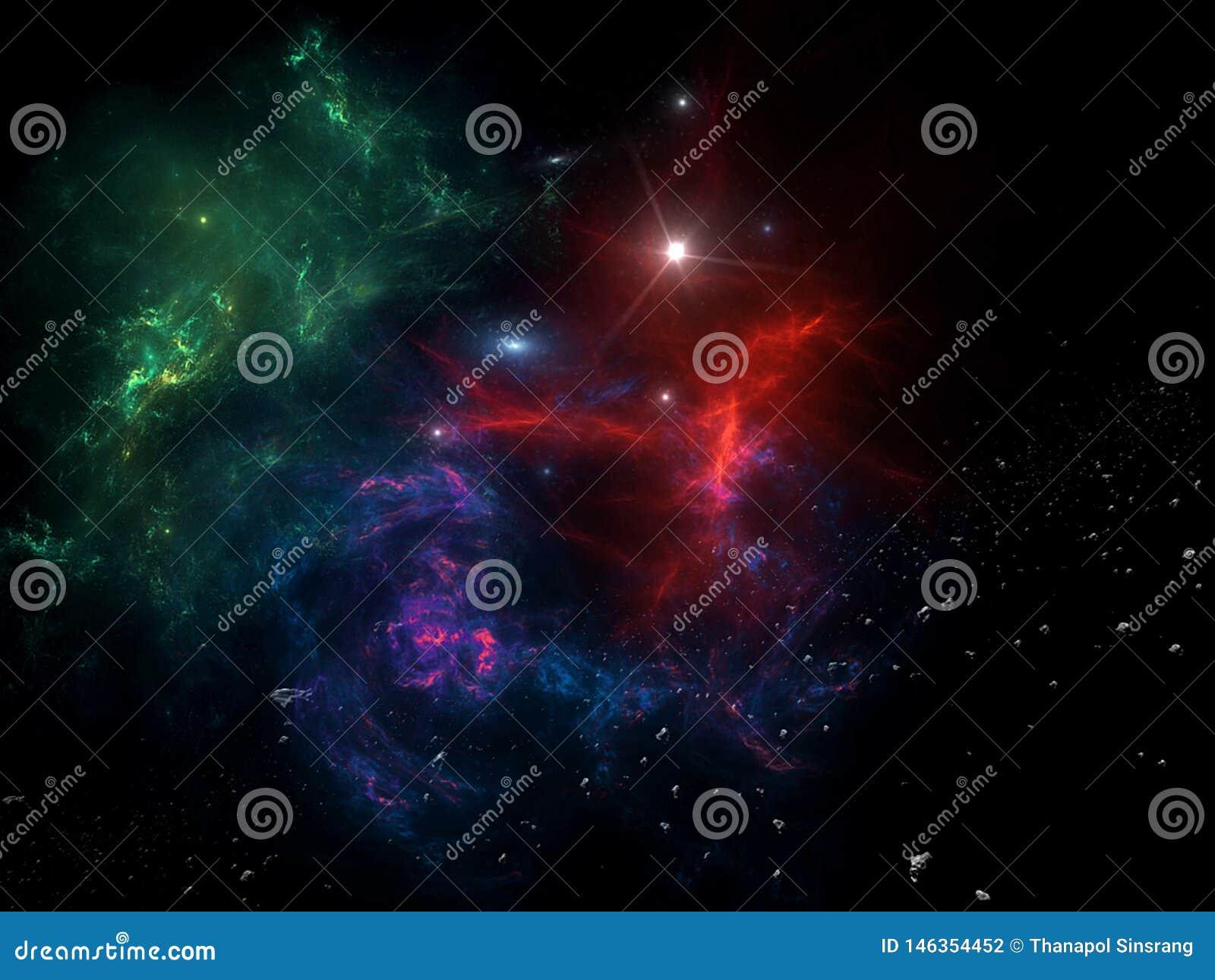 Planeten und Galaxie, Zukunftsromantapete Sch?nheit des Weltraums Milliarden der Galaxie im kosmischen Kunsthintergrund des Unive