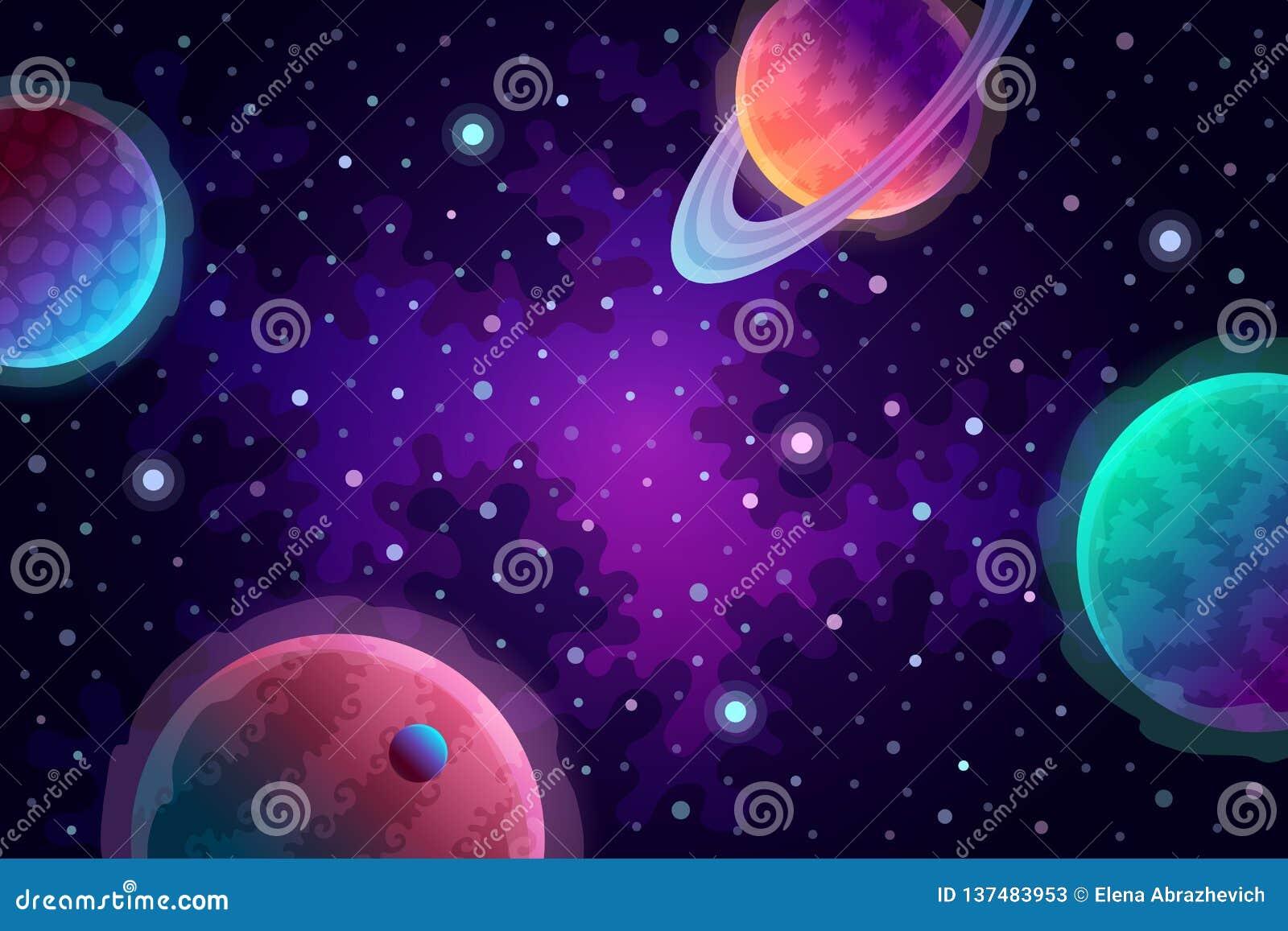 planeten und sterne im raum vektor abbildung