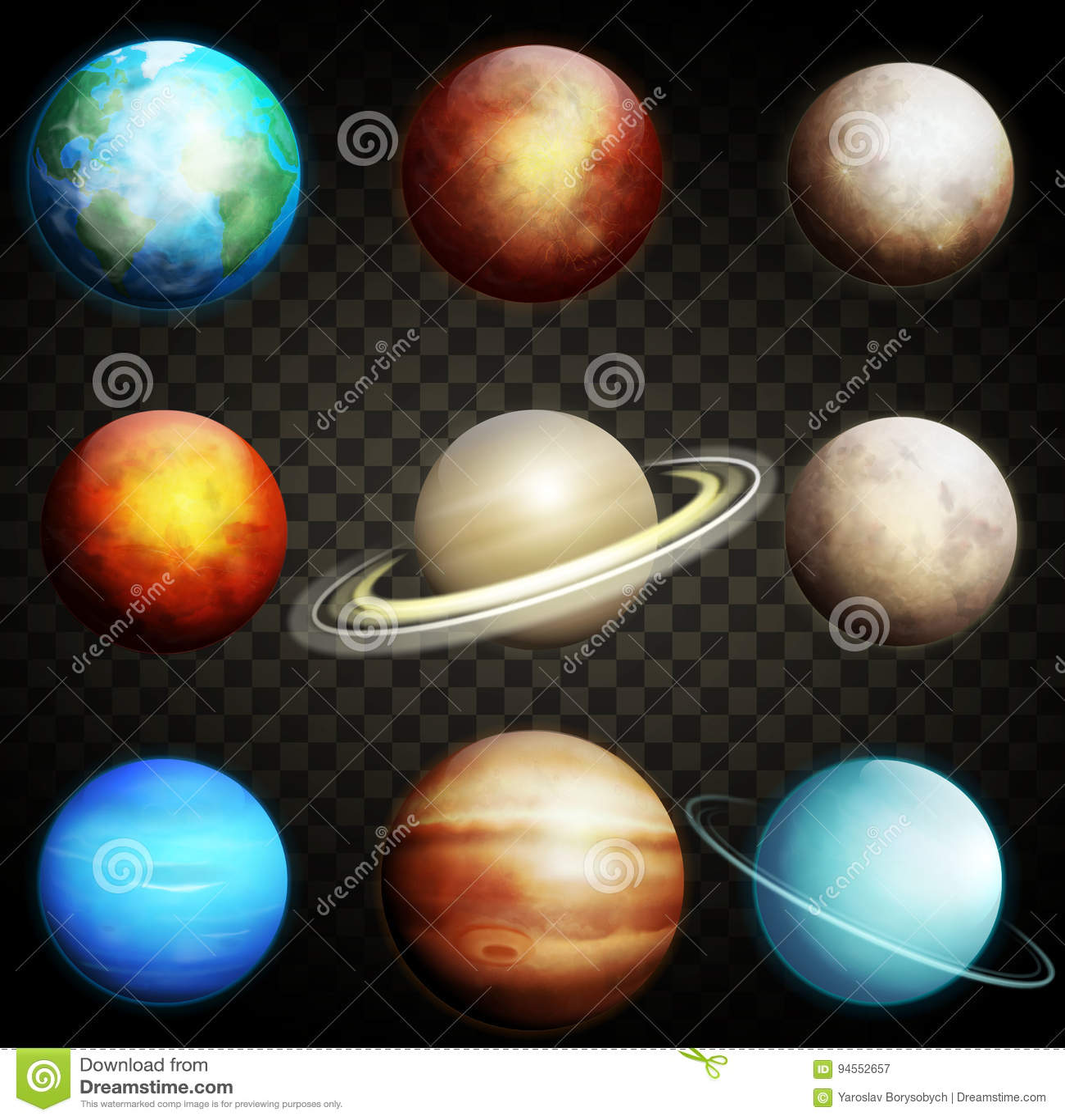 Planeten van het zonnestelsel op een transparante achtergrond wordt geïsoleerd die Reeks van realistische planetenvector