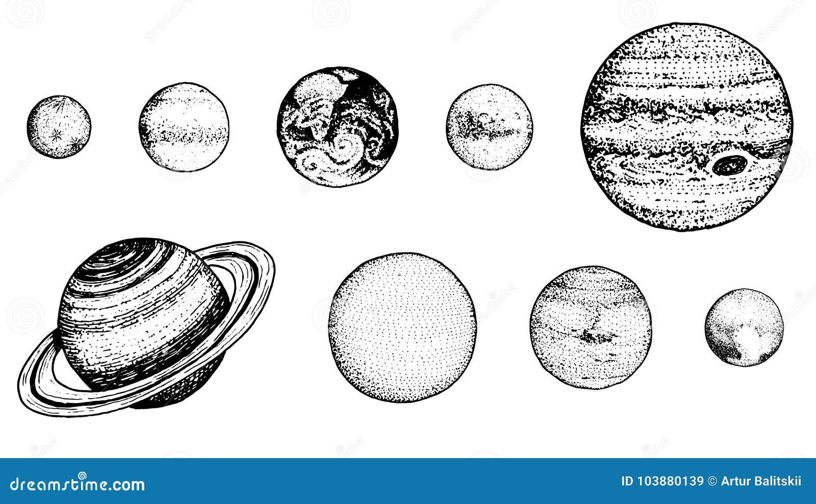 Planeten in zonnestelsel de maan en de zon, kwik en aarde, brengen en venus, Jupiter of Saturnus en pluto in de war astronomisch