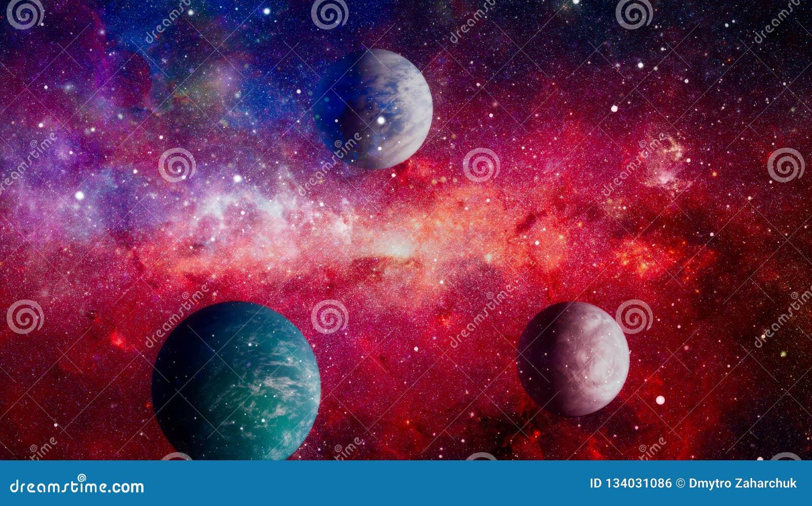 Planeter, stjärnor och galaxer i yttre rymd som visar skönheten av utforskning av rymden Beståndsdelar som möbleras av NASA