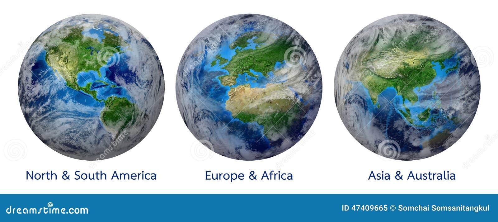 Planetjord, global värld som visar Amerika, Europa, Afrika, Asien, kontinent
