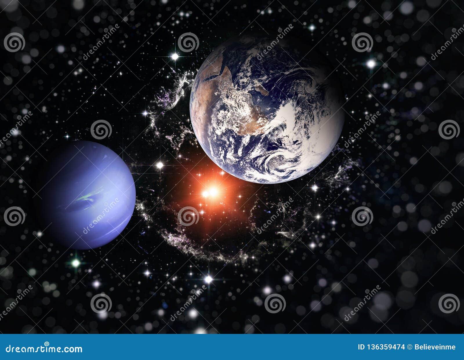 Planetjord och den blåa planeten Beståndsdelar av denna avbildar möblerat av NASA
