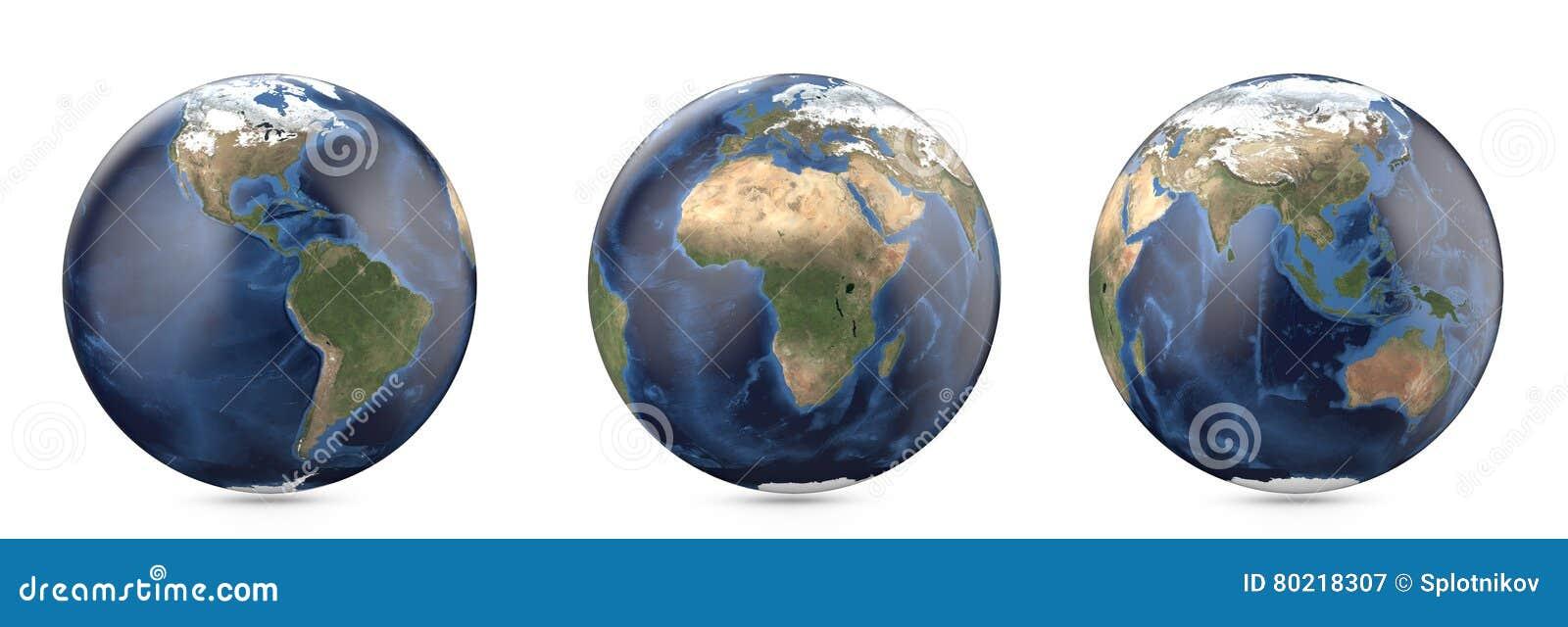 Planetjord utan moln Visning Amerika, Europa, Afrika, Asien, Australien kontinent