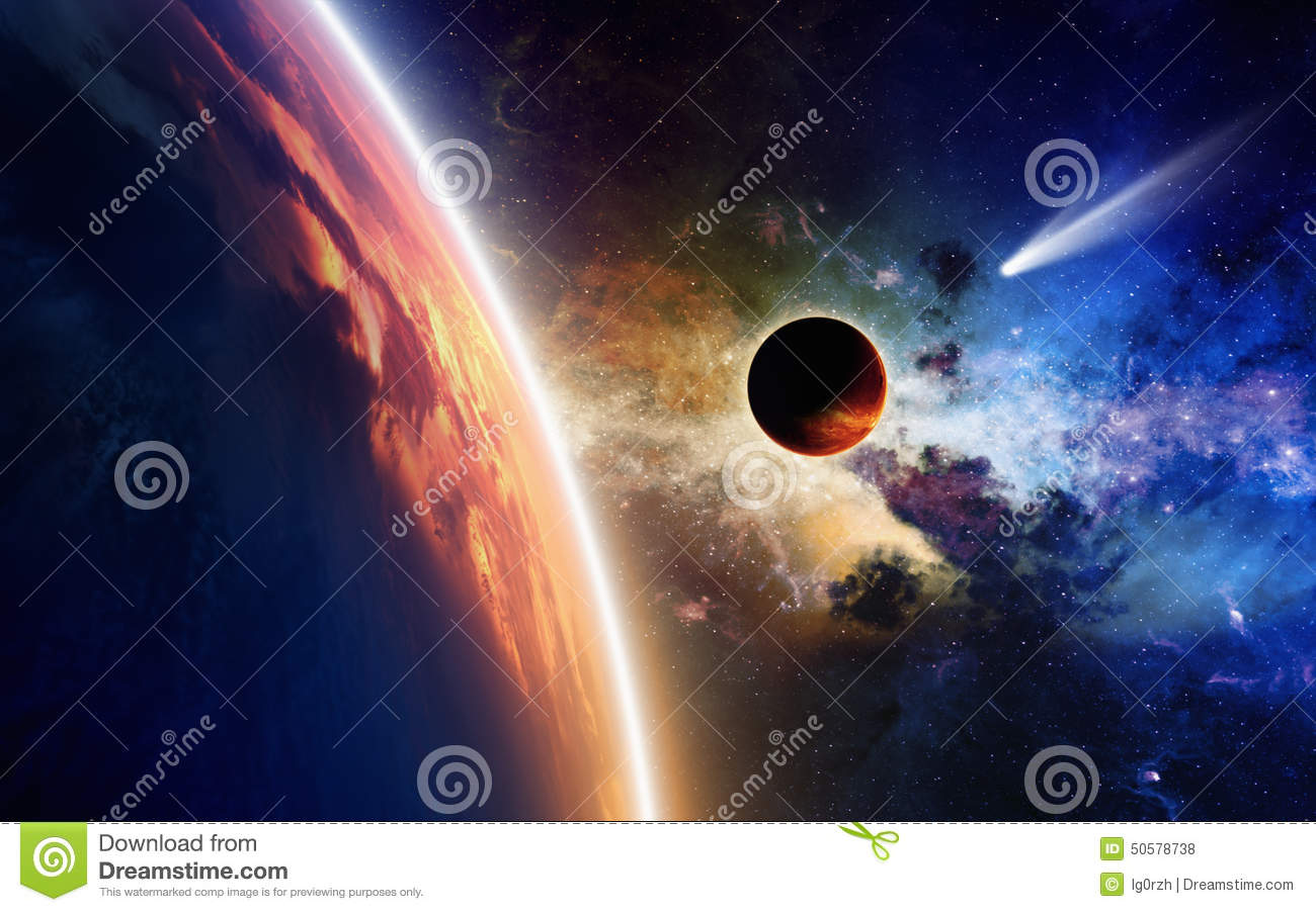 Planets and comet in space