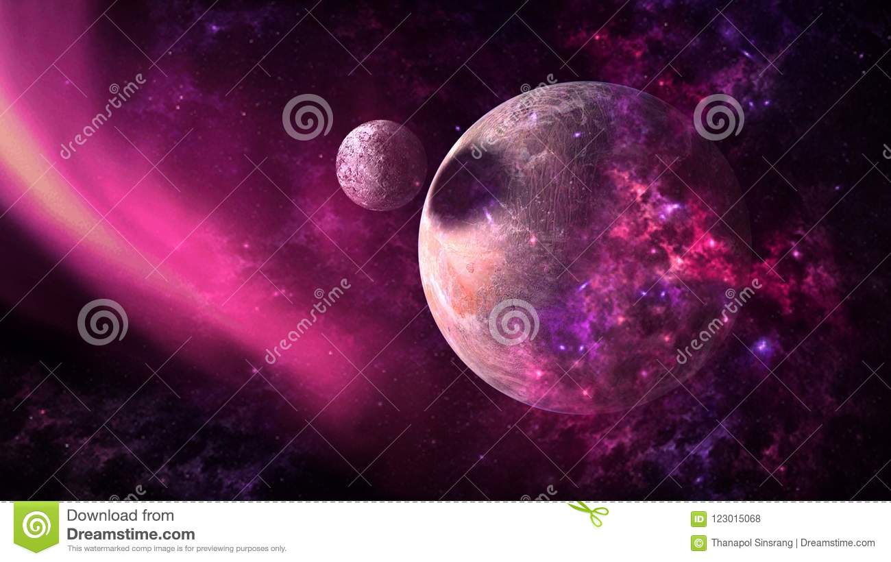 Planets and galaxy, science fiction wallpaper. Beauty of deep space.