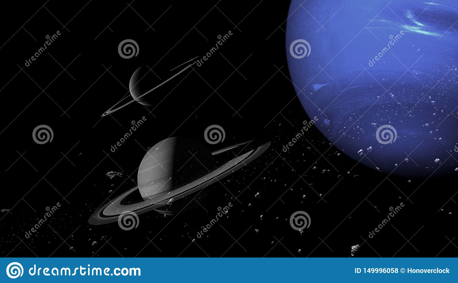 Planets and galaxy, science fiction wallpaper. Beauty of deep space. Billions of galaxy in the universe Cosmic art background, Ver