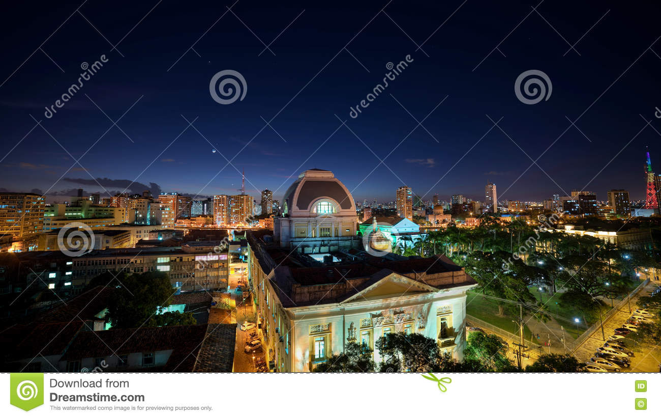 Planets and the Moon over historic buildings of Recife, Pernambuco, Brazil