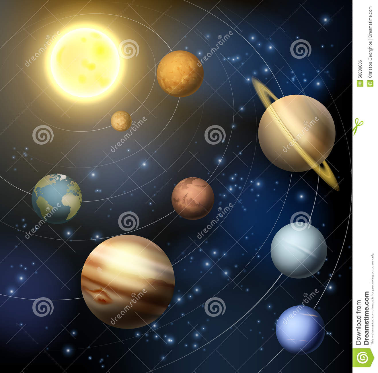 Planets Of Our Solar System Stock Vector