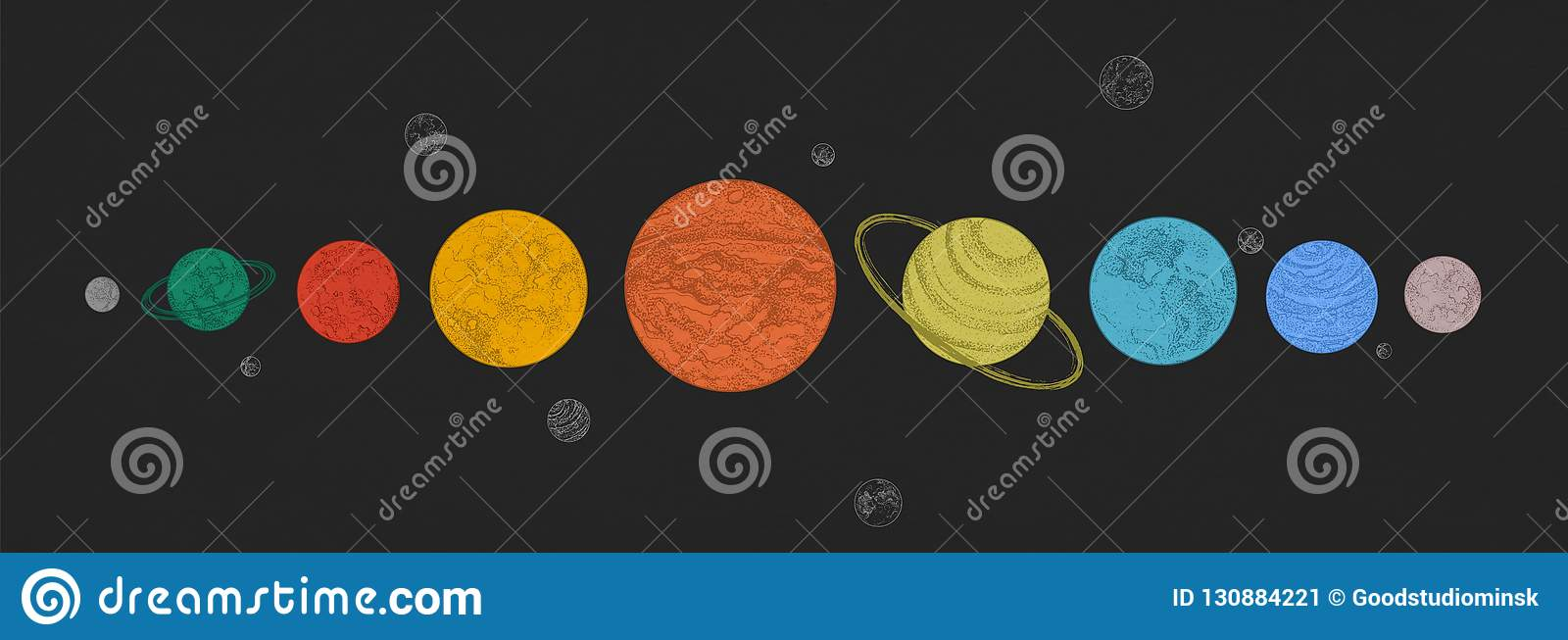 Planets of Solar system arranged in horizontal row against black background. Celestial bodies in outer space. Natural