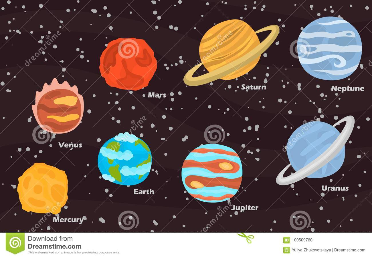 Planets Of Solar System Color Icons Set On Space Background