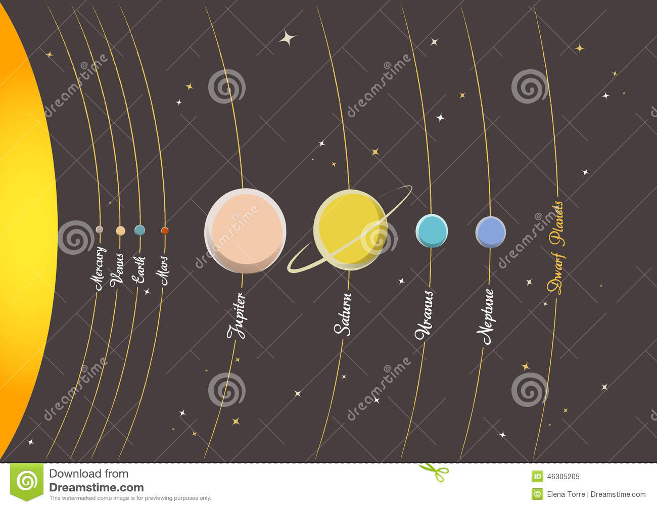 Planets of solar system stock vector illustration of colour 46305205 download planets of solar system stock vector illustration of colour 46305205 ccuart Image collections