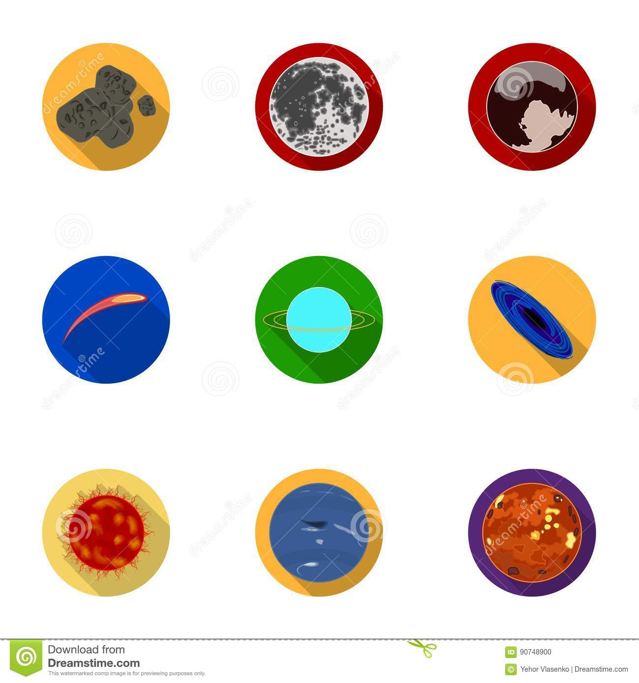 Set planets solar system cartoon style flat icon stock vector image - Cosmic Objects Set Hand Drawn Vector Doodles Rockets