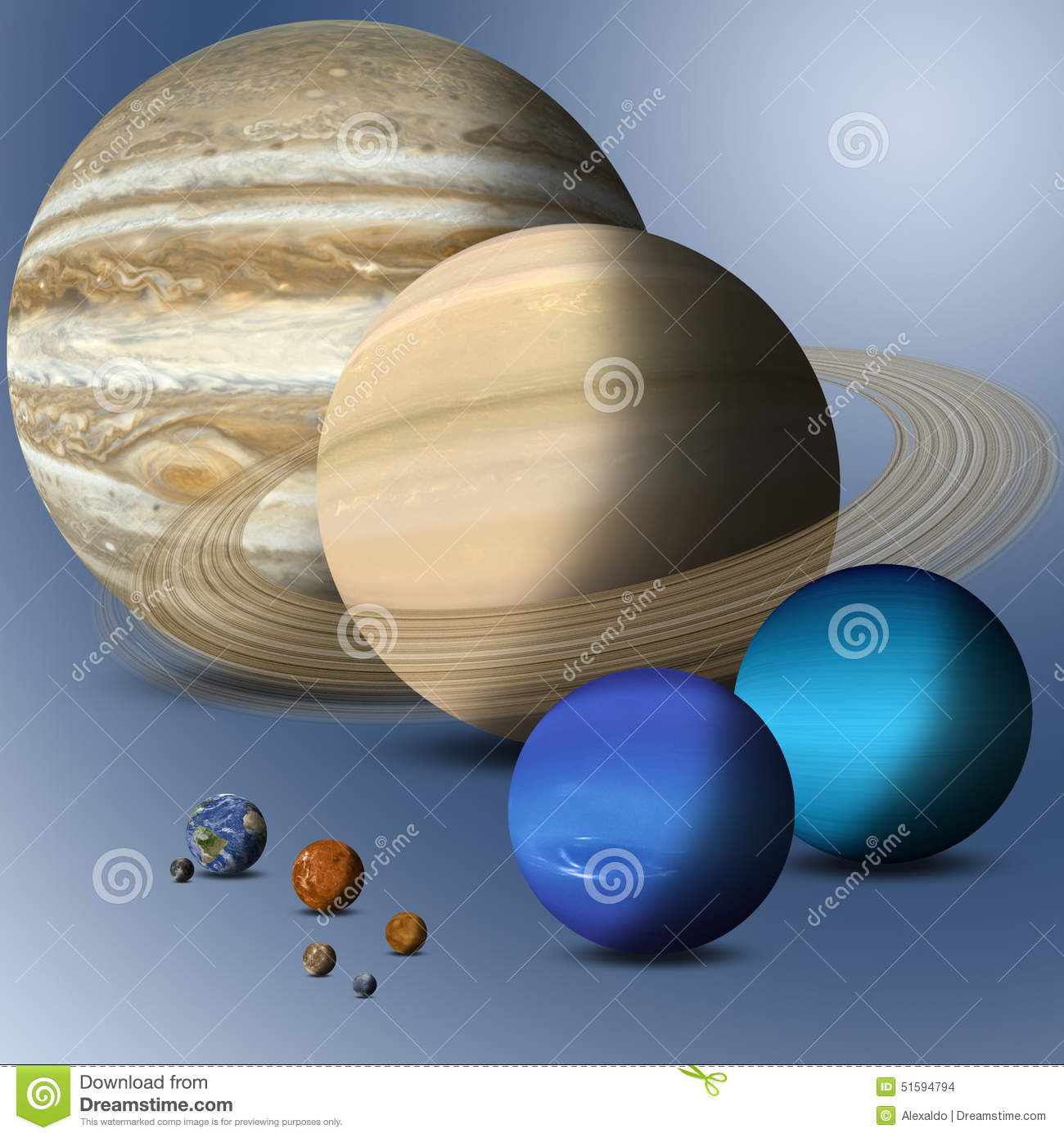 Planets Of Solar System Full Size Comparison Stock ...