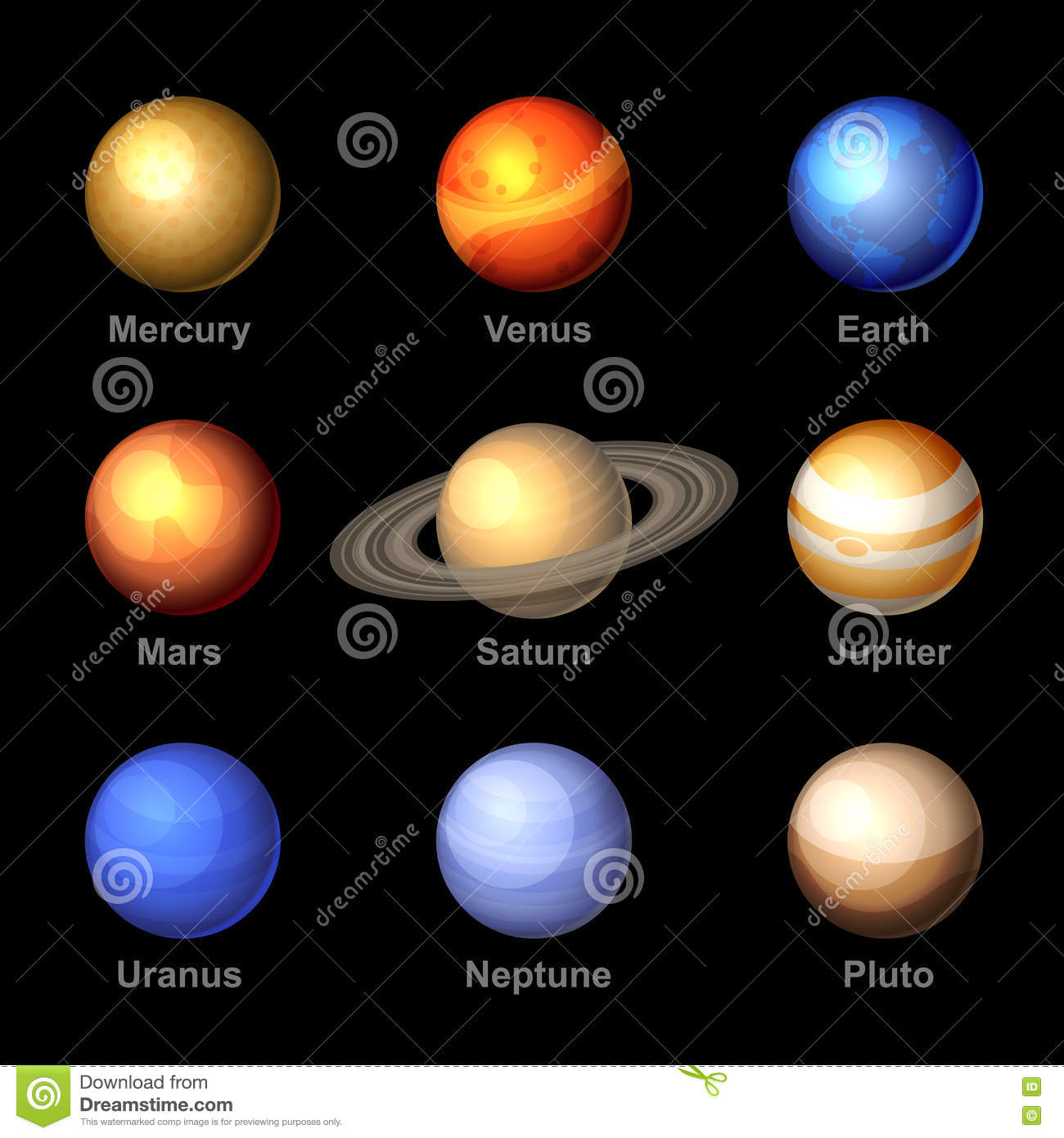 Stock Illustration Planets Solar System Icons Vector Glossy Color Image60854744 on Color The Stars 5 Coloring Page
