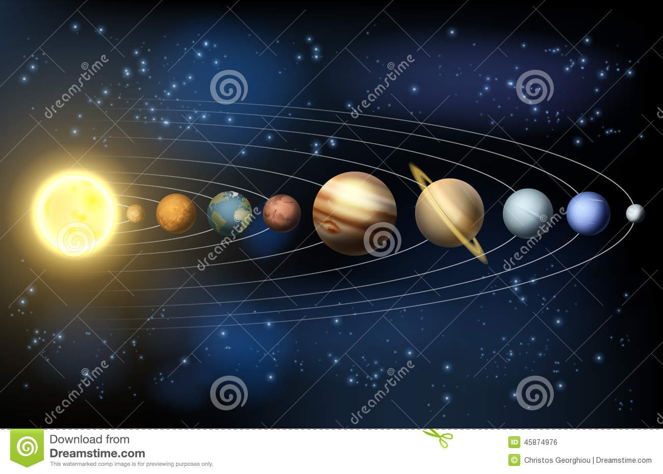 Planets of the solar system stock vector illustration of for Astrologie maison 5
