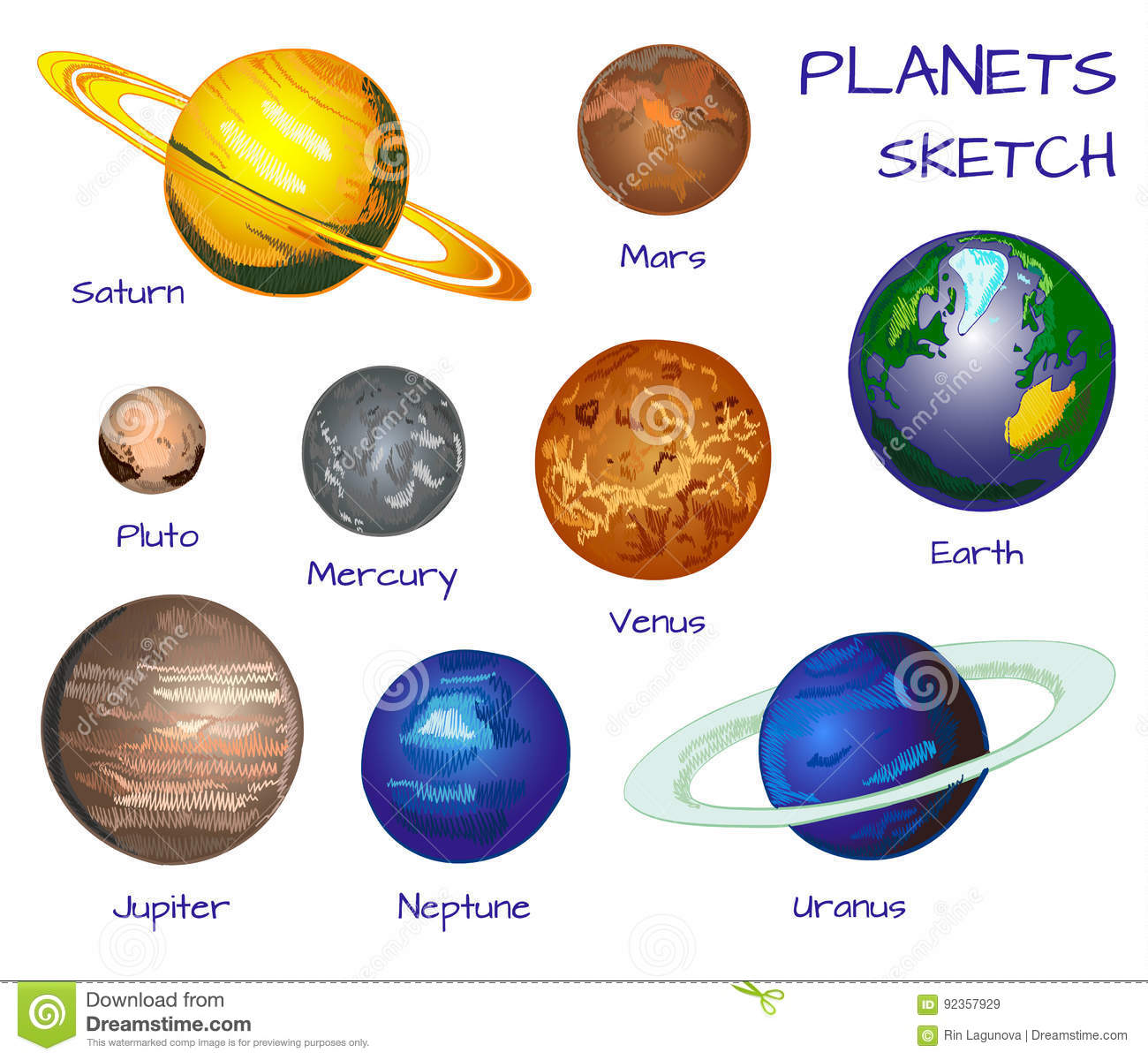 Planets Of The Solar System. VECTOR Hand Drawn Set On ...