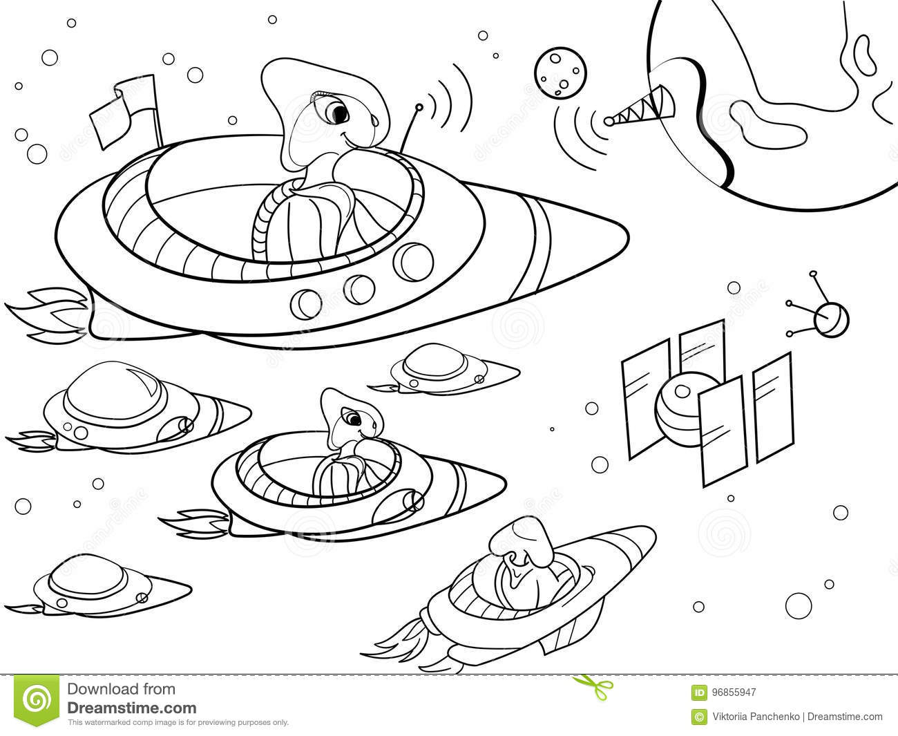 With Planets Space Coloring Vector For Adults Stock Vector ...