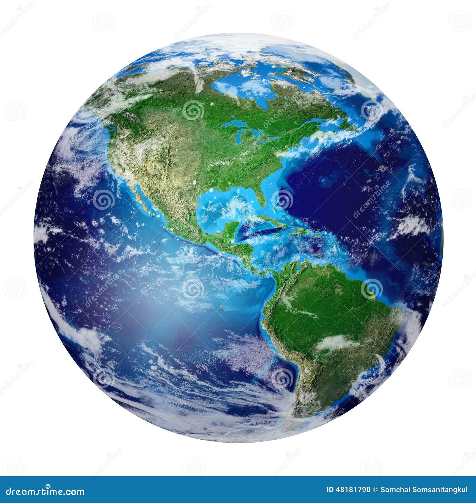 Planetuje ziemię od przestrzeni pokazuje północ i południe Ameryka, usa,