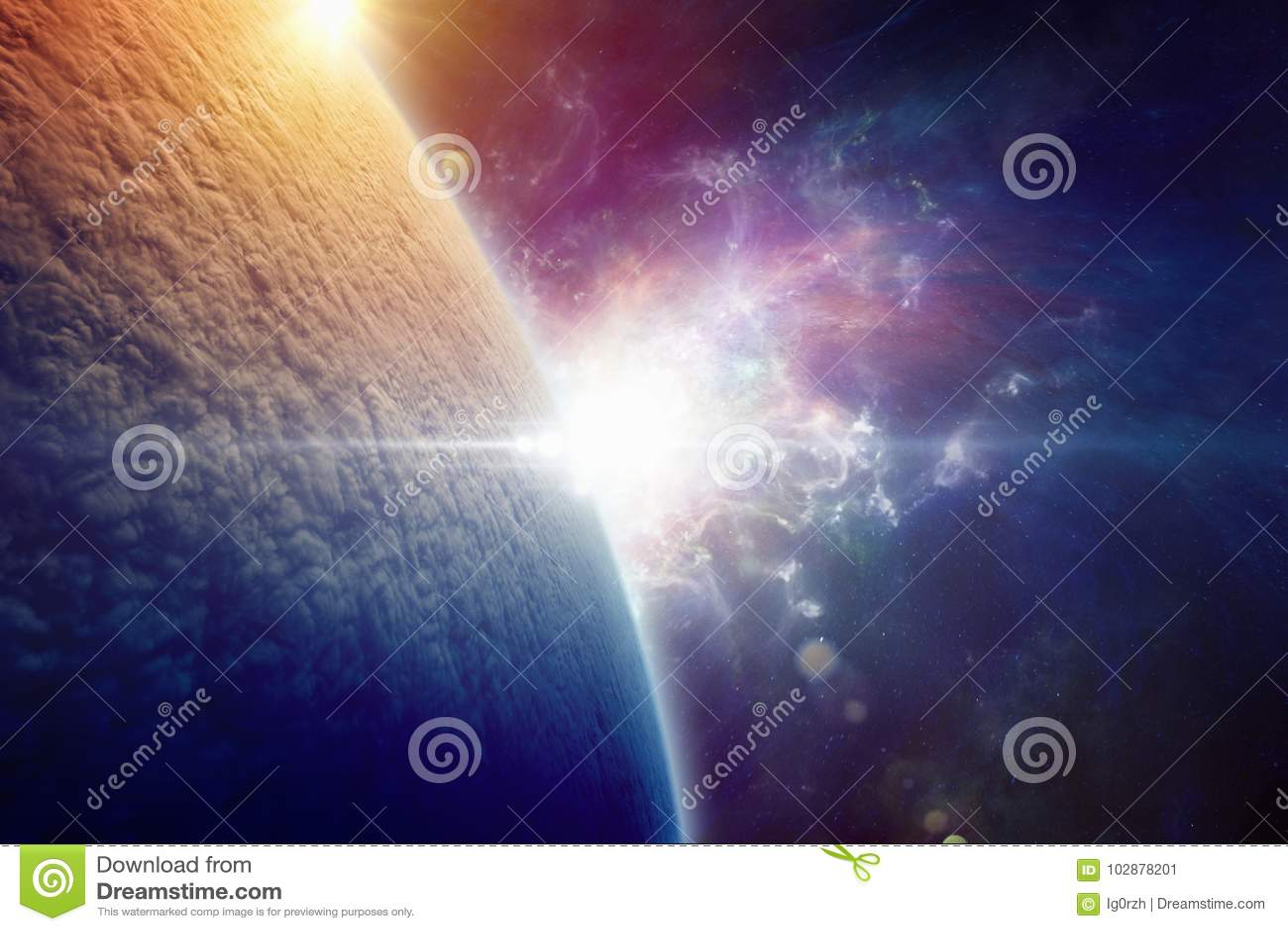 Planety ziemia całkowicie zakrywa z chmurami po jądrowego w