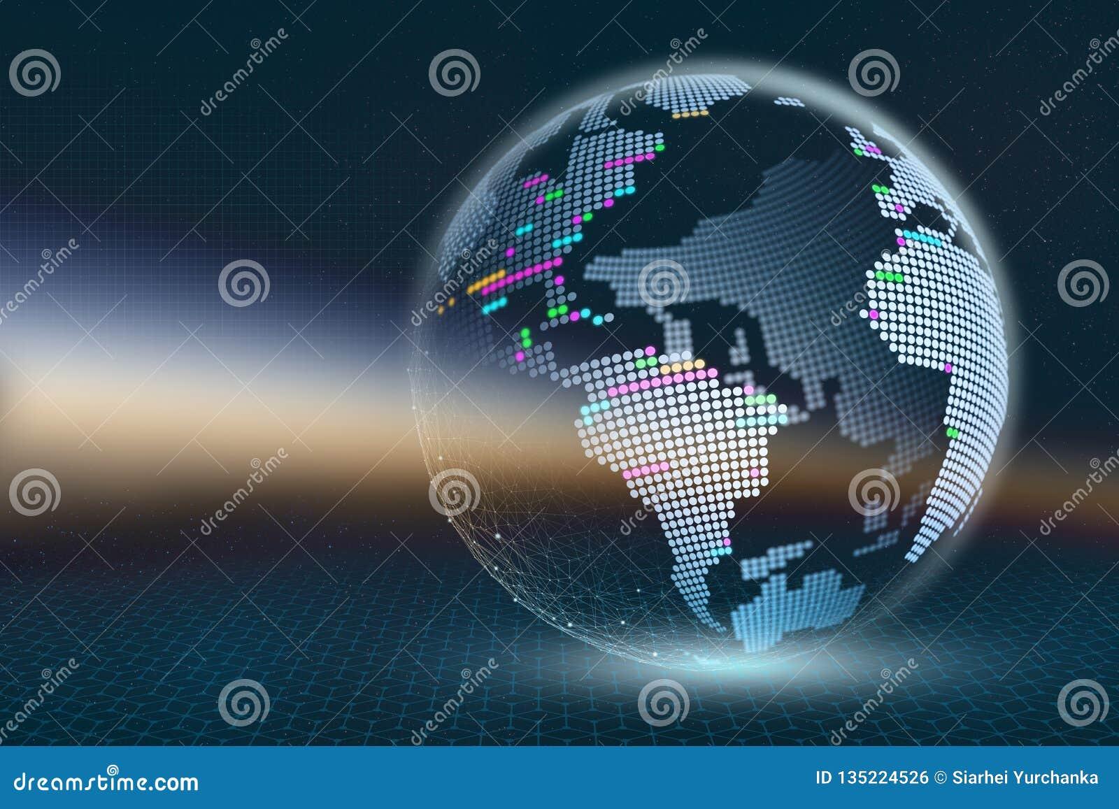 Planety ziemska 3D ilustracja Przejrzysta piksel mapa z świecącymi elementami na ciemnym abstrakcjonistycznym tle Technologie glo