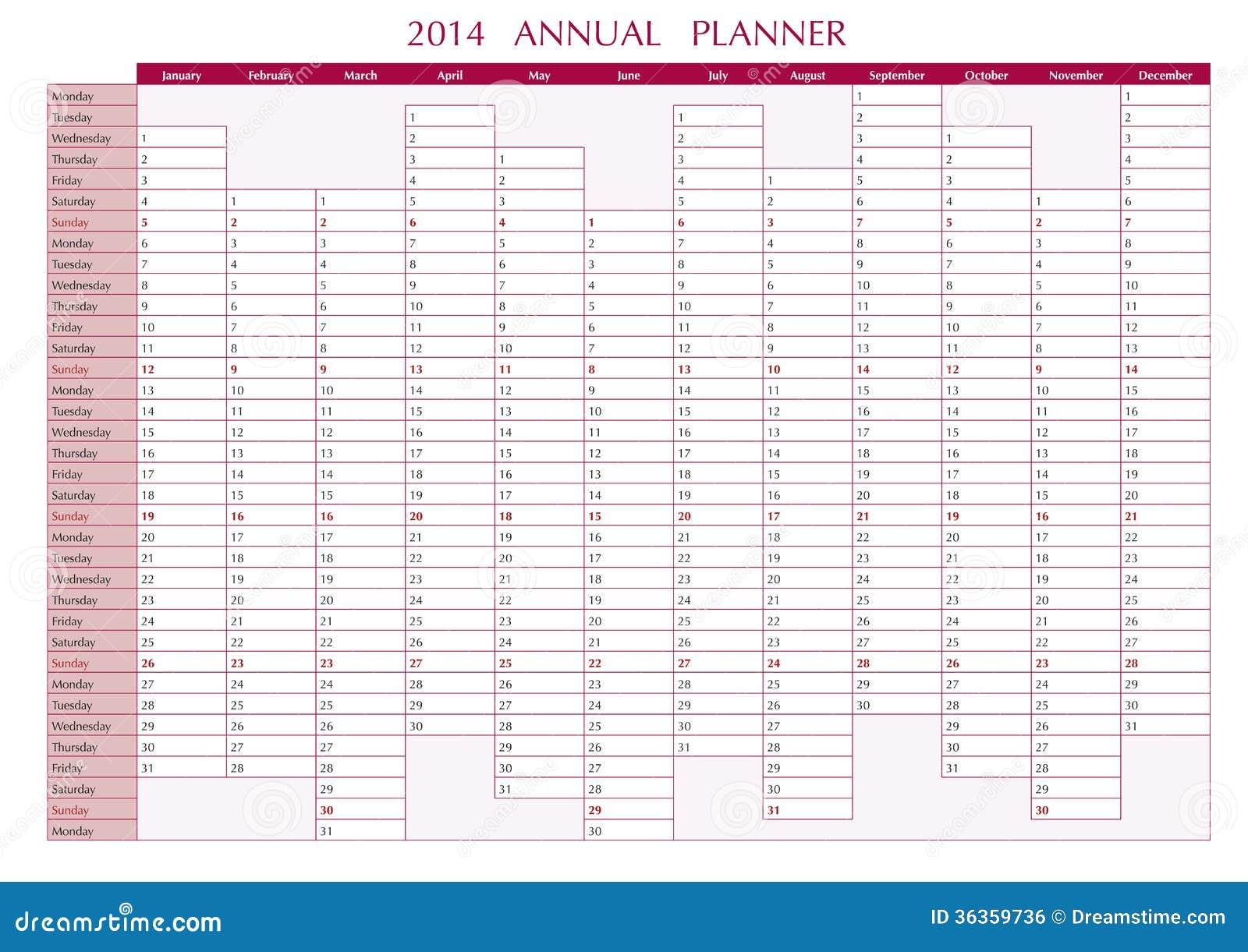 Único Planificador Plantilla 2014 Imagen - Ejemplo De Colección De ...