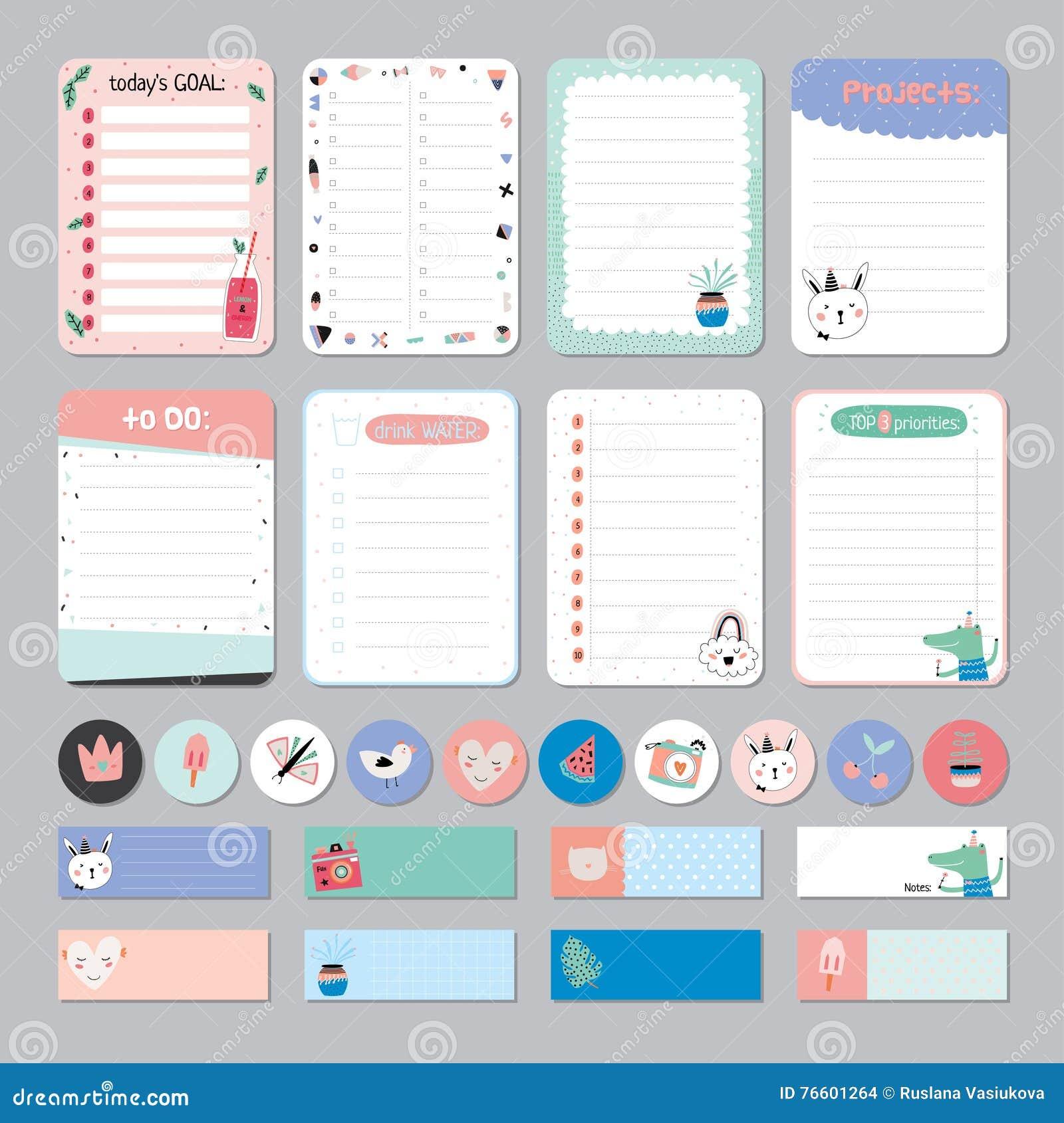Planificador diario y semanal del calendario lindo