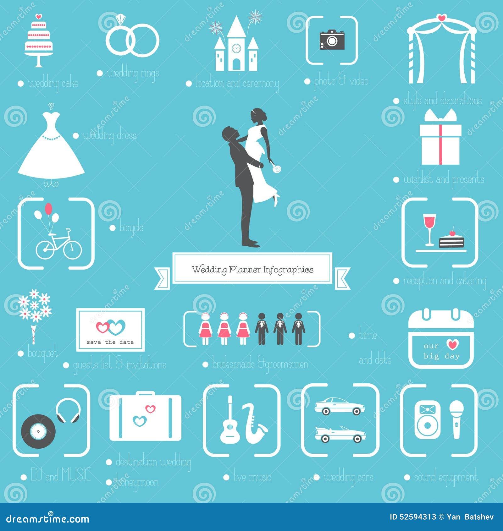 planificador icons de la boda y sistema de infographics ilustración