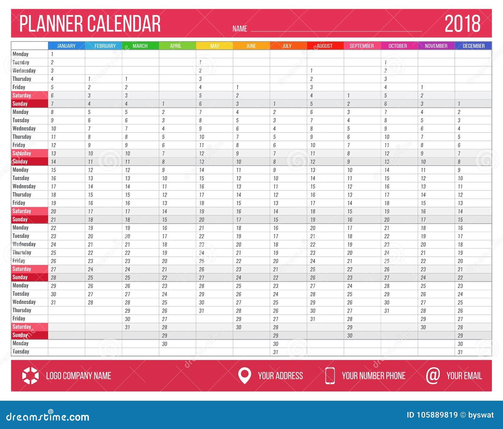 planificador inglés del calendario por el año 2018 12 meses