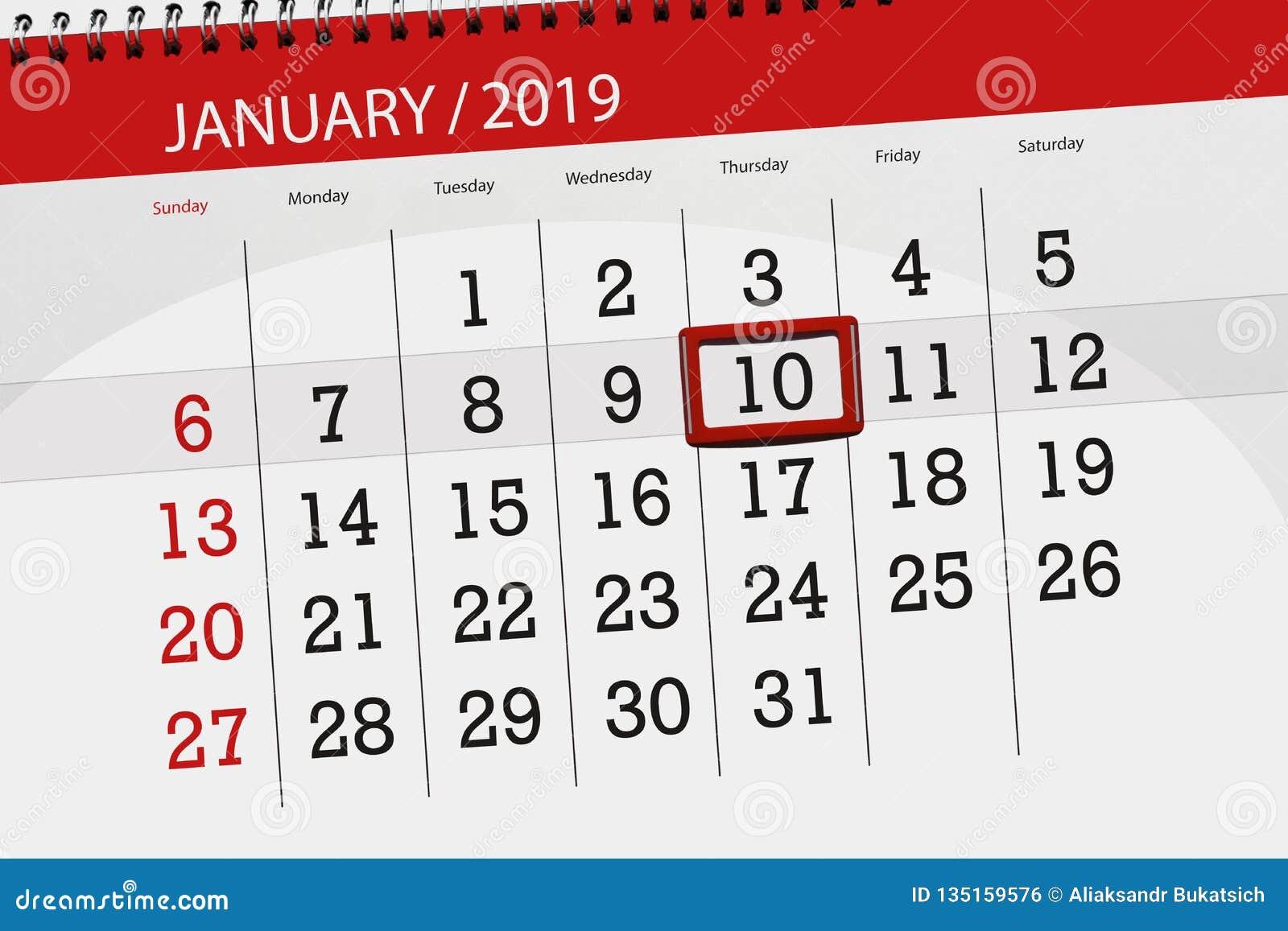Planificador para mes enero de 2019, día del plazo, 10, jueves del calendario
