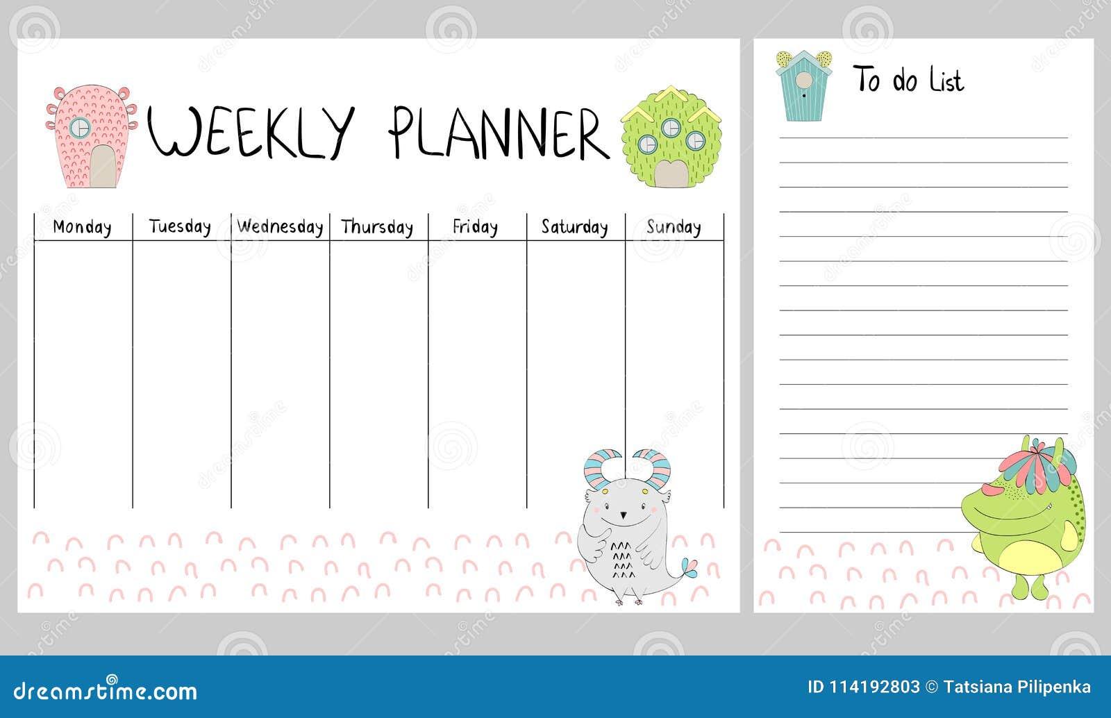 Calendario Semanal.Planificador Semanal Del Vector Ilustracion Del Vector Ilustracion