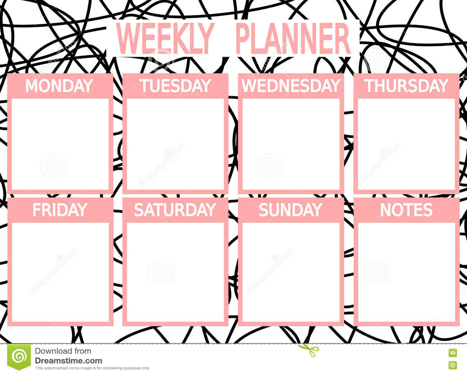 Planificador Semanal Imprimible Rosado Negro Lindo ...