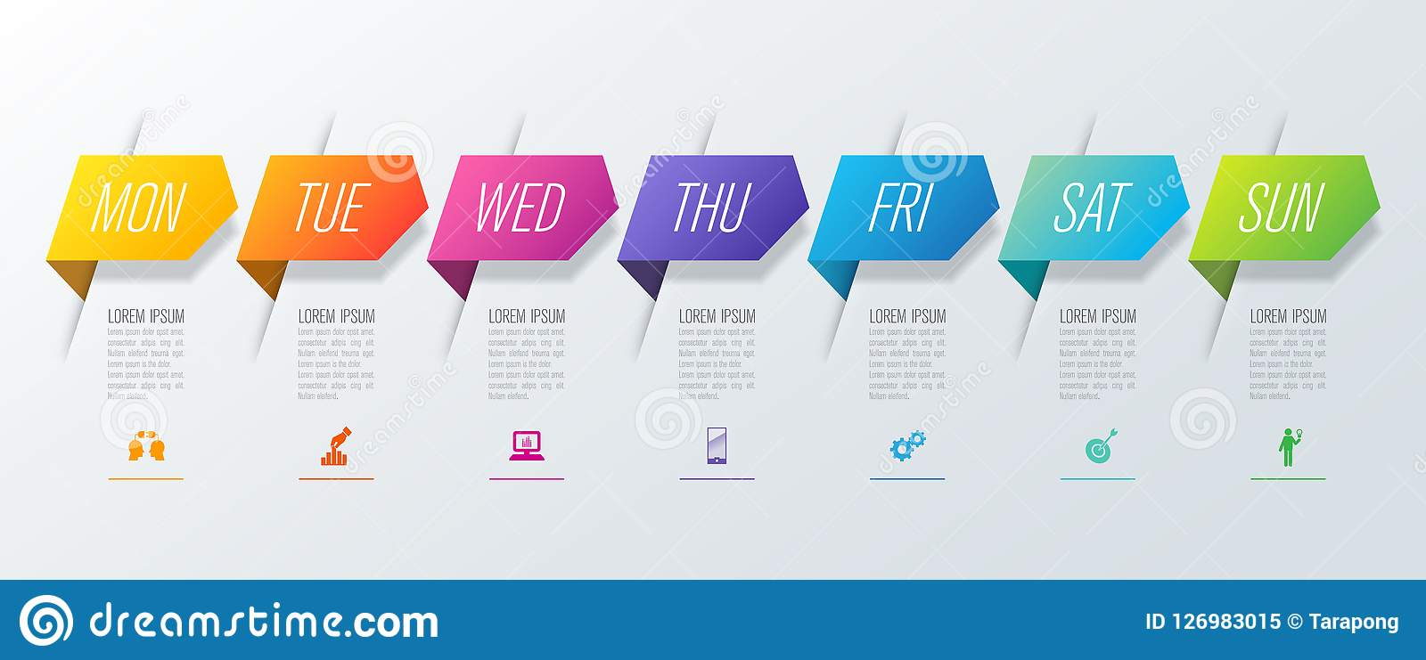Planificador semanal lunes - iconos del vector y del negocio del diseño de domingo Infographics con 7 opciones