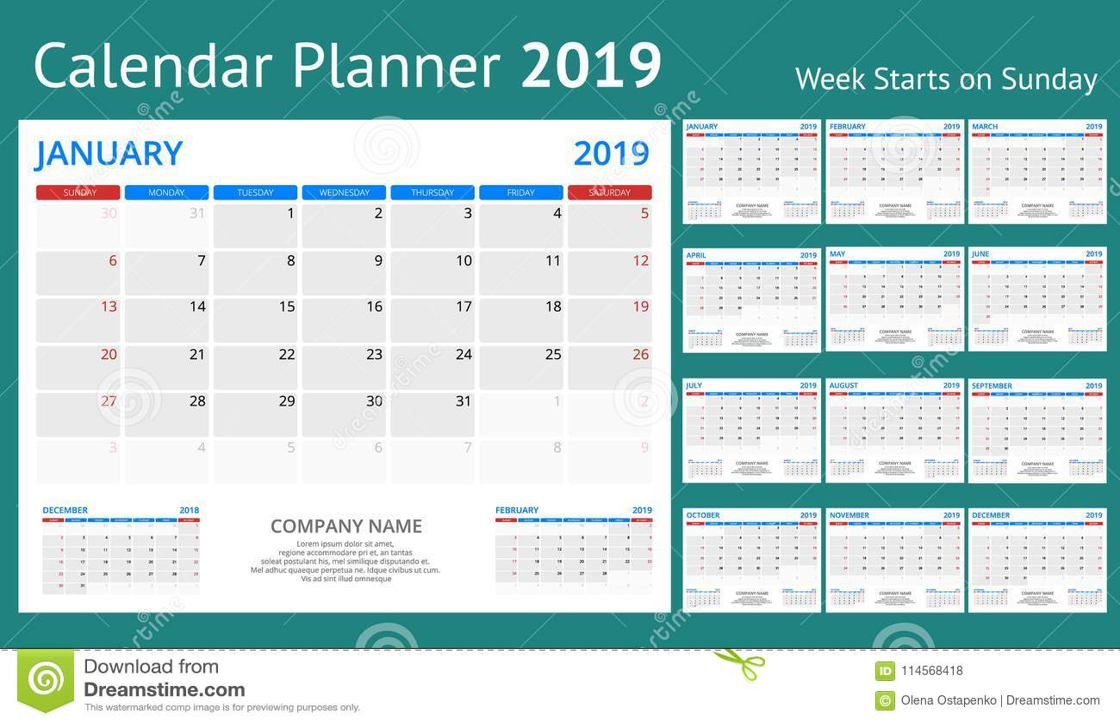 Calendrier Impression.Planificateur De Calendrier Pendant 2019 Annees Calibre D