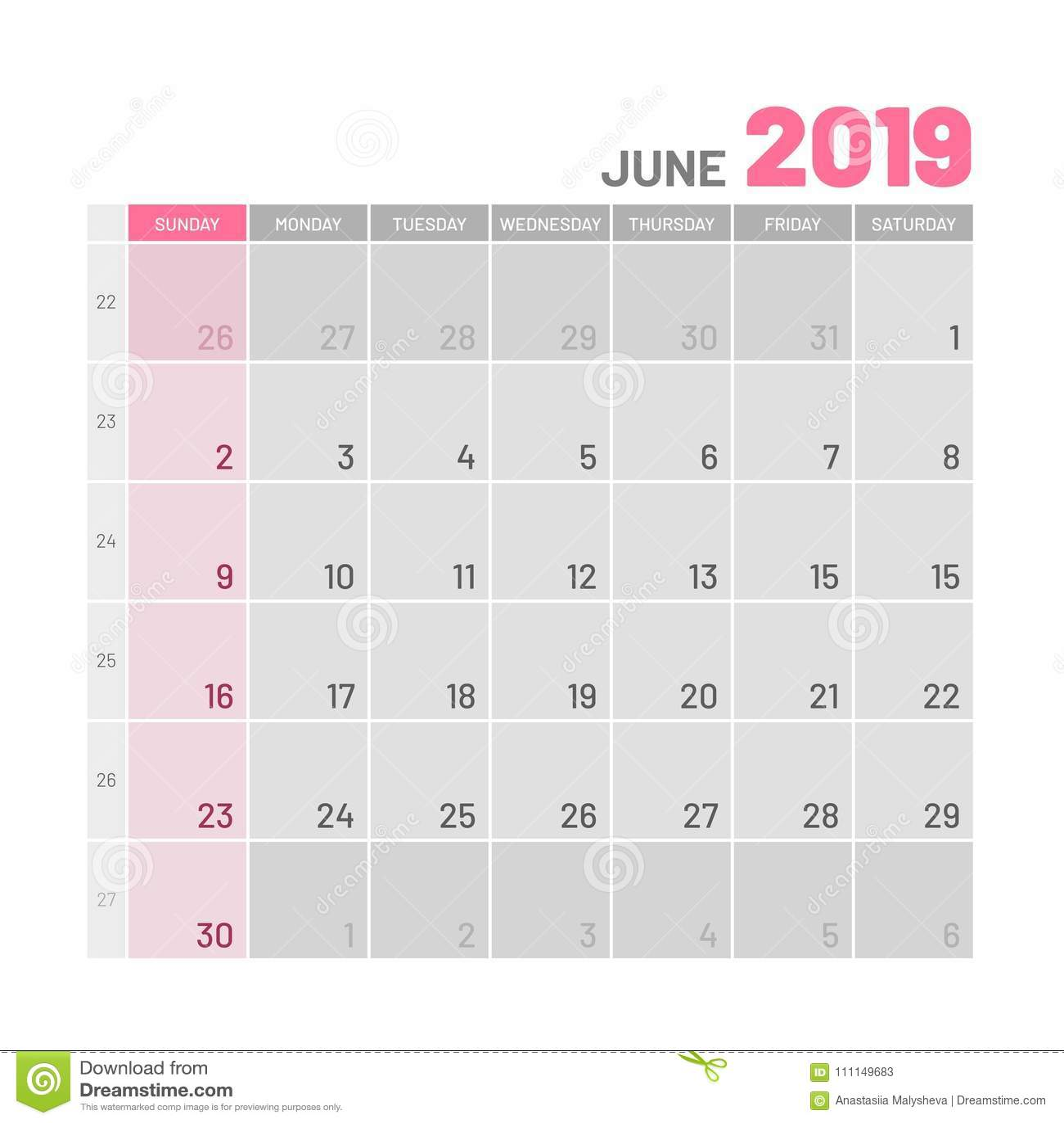 Planificateur de couleur claire pratique, 2019, juin, plat