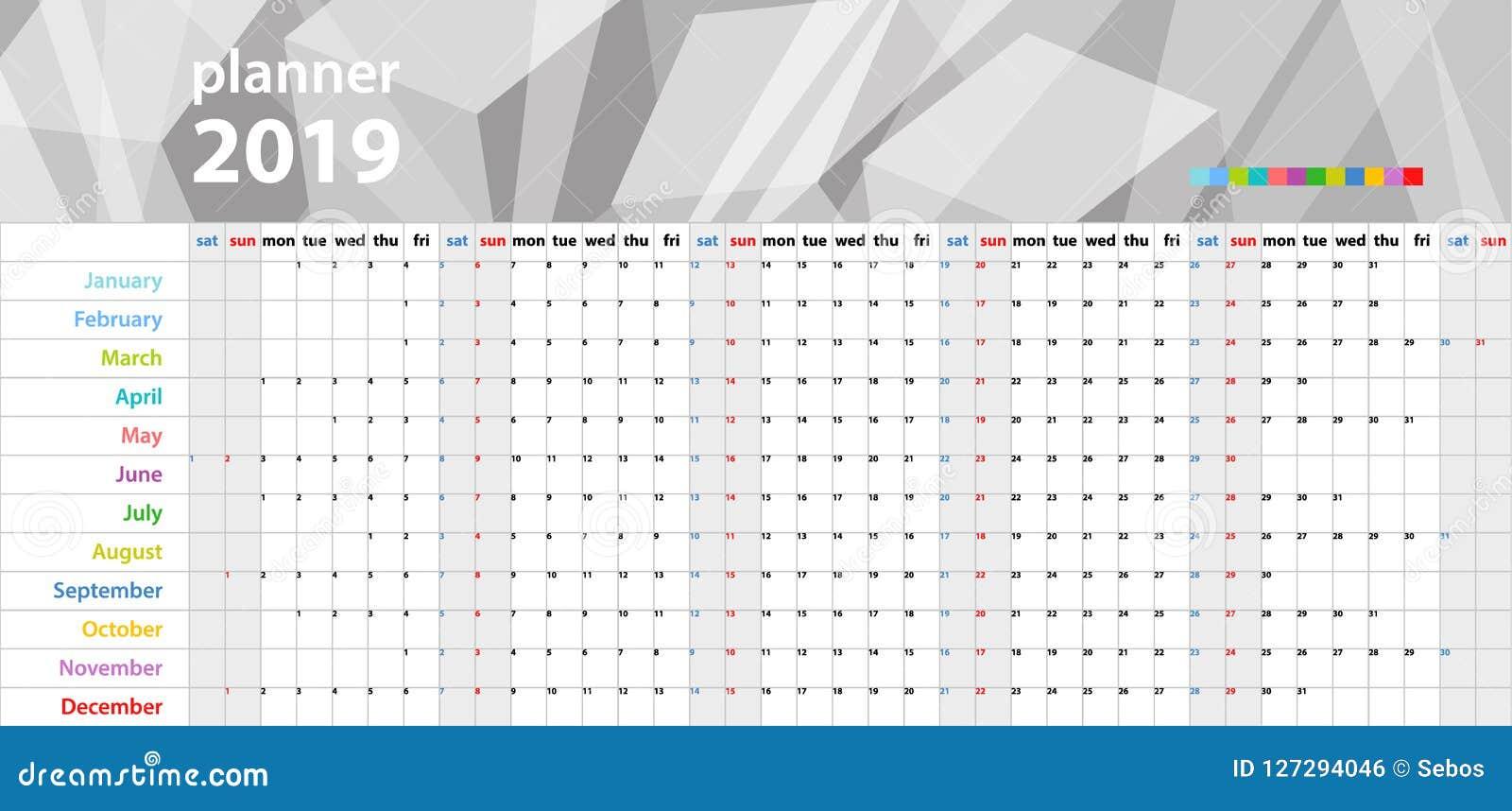Planificateur de mur de calendrier pendant les 2019 années Ensemble coloré de vecteur Descripteur pour votre conception