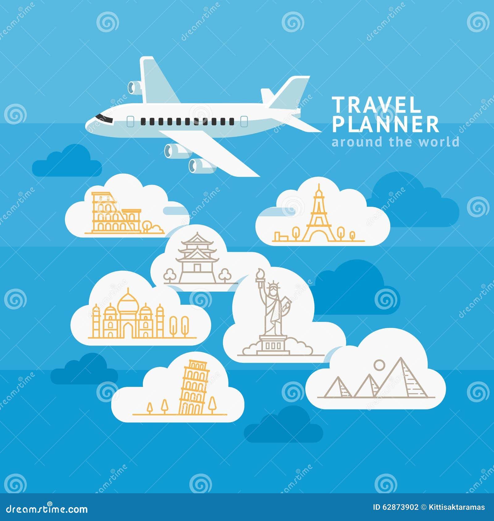planificateur de voyage autour du monde avion avec le point de rep re de nuage illustration de. Black Bedroom Furniture Sets. Home Design Ideas