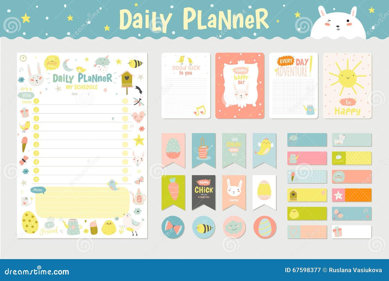 Planificateur quotidien de calendrier mignon