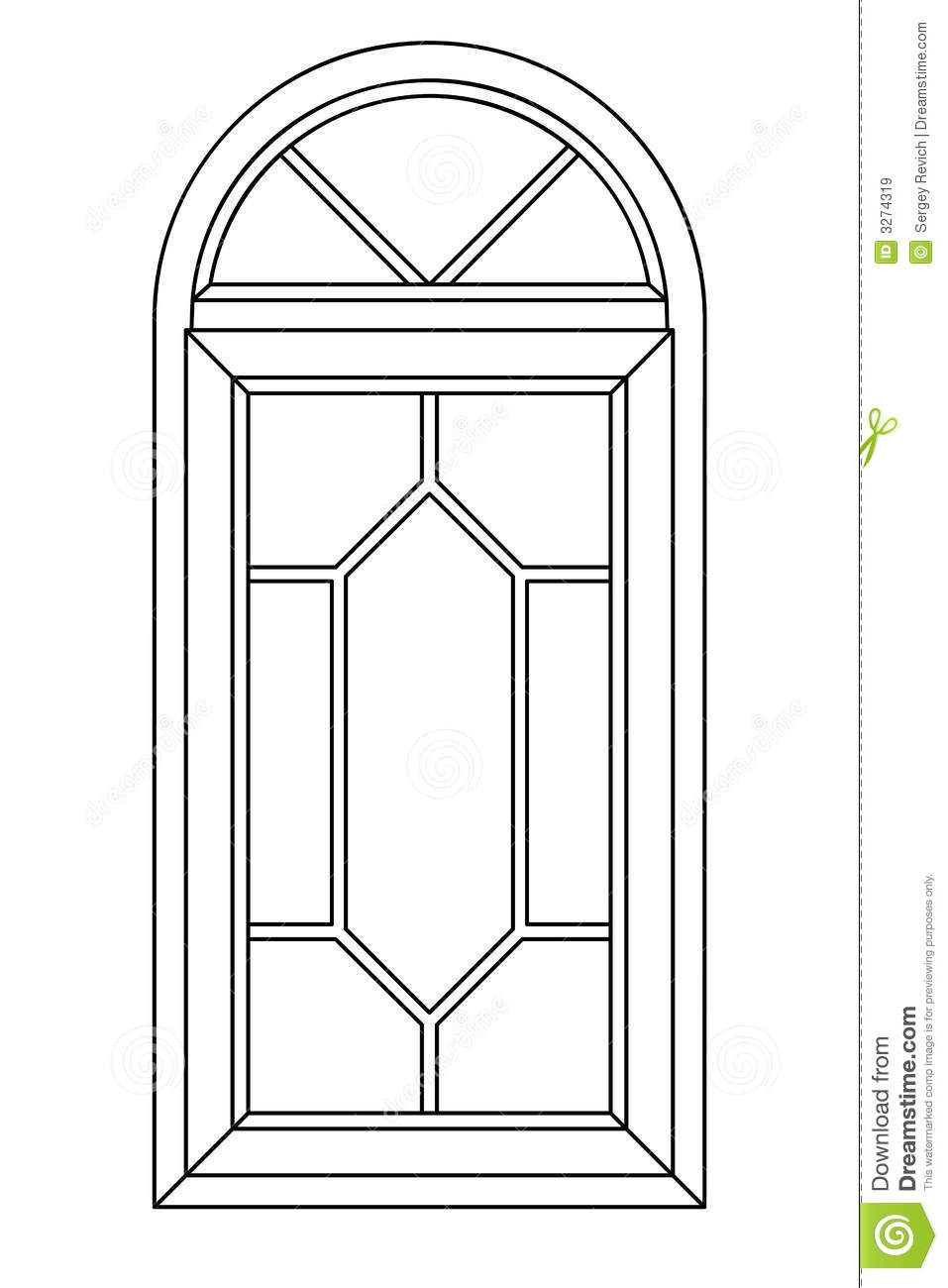 Planimetric Arch Window 3 Royalty Free Stock Images