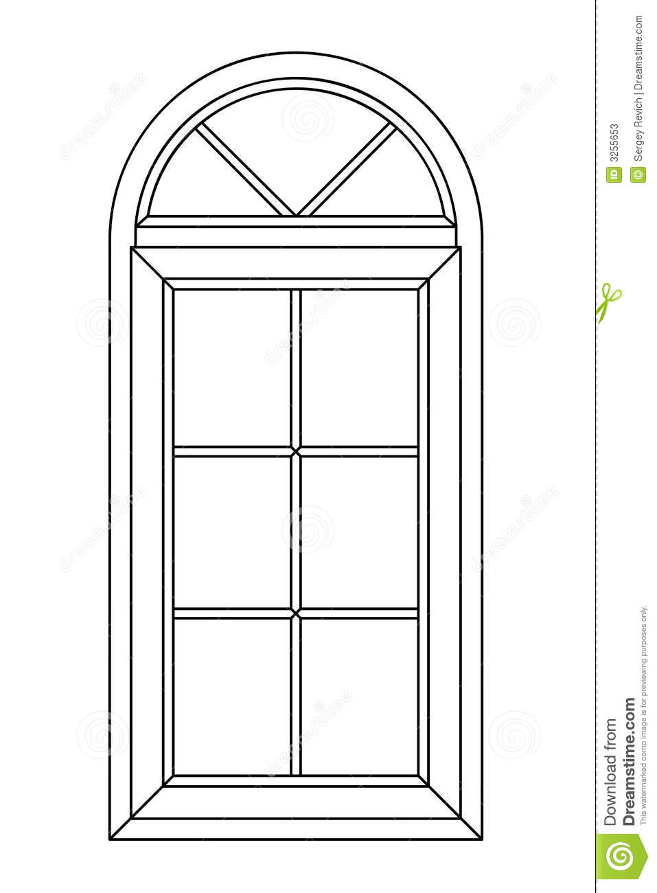 planimetric arch window stock illustration image of drawing 3255653. Black Bedroom Furniture Sets. Home Design Ideas