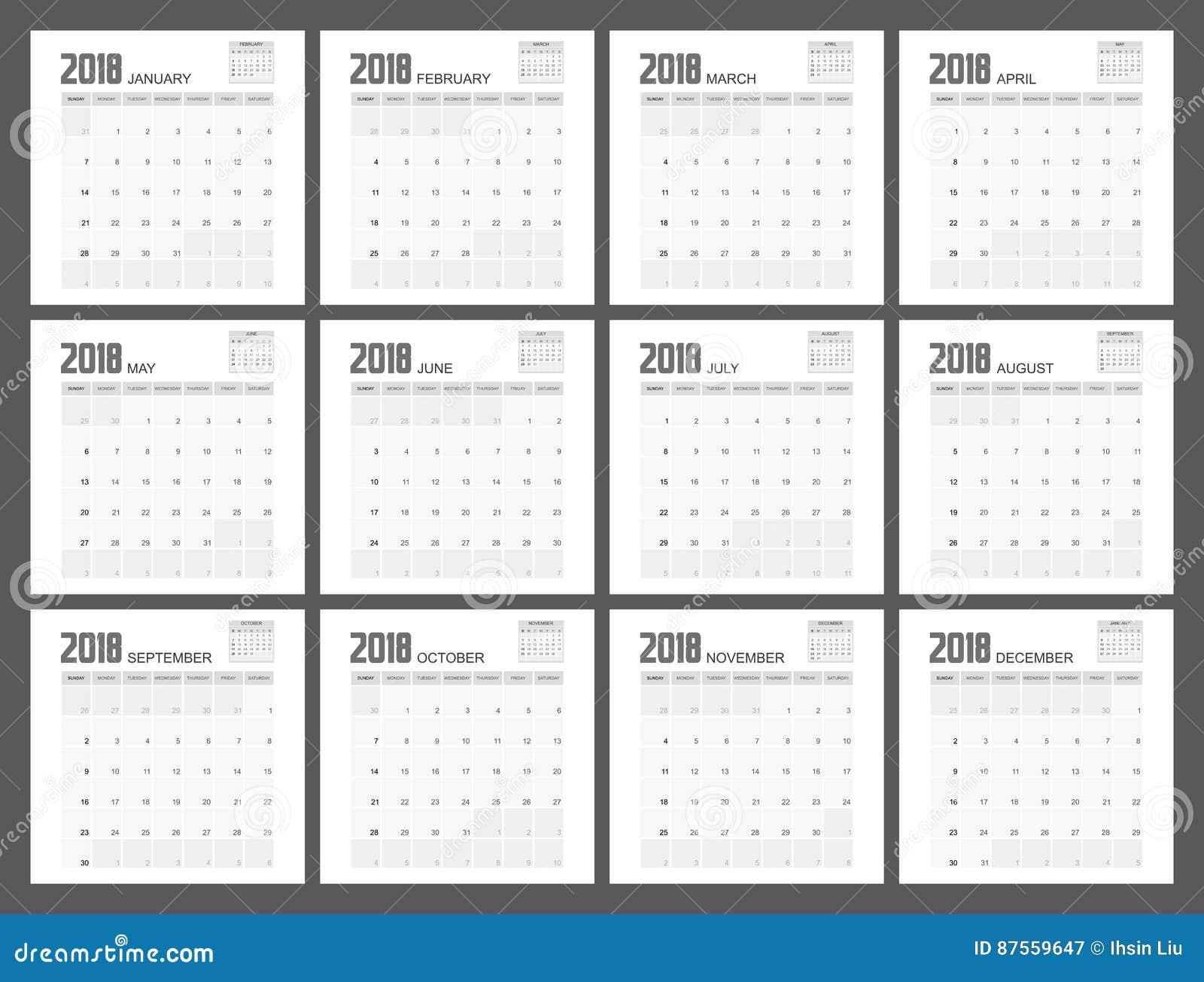 2018 planisty Kalendarzowy projekt