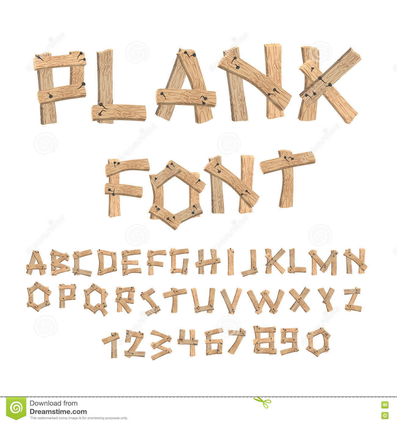 Plank font wooden table alphabet old boards with nails