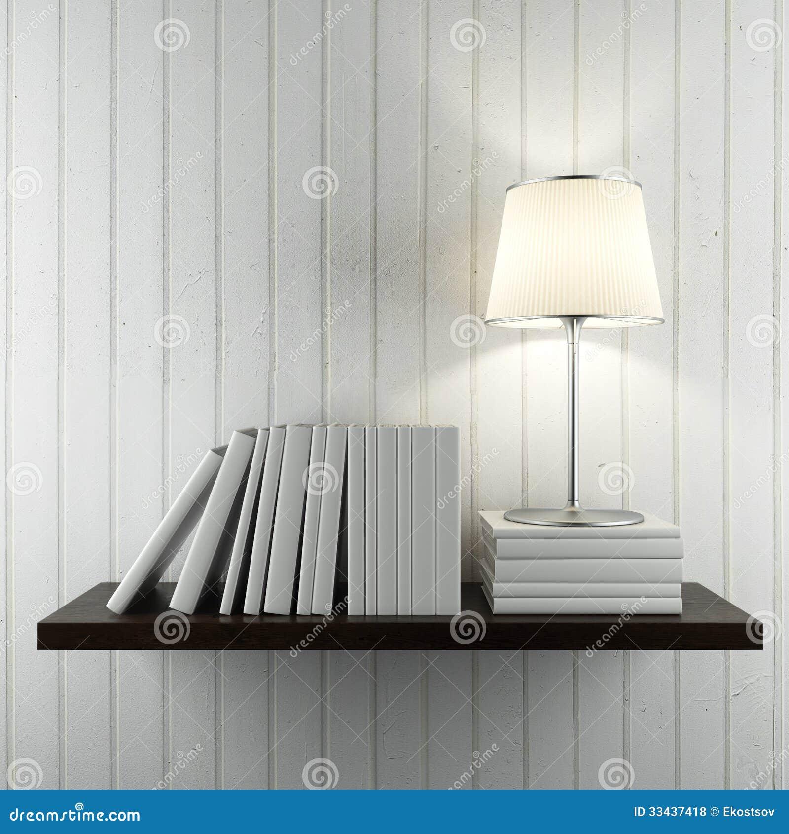 Wandplank Met Lamp.Plank Met Boeken En Lamp Stock Illustratie Illustratie Bestaande
