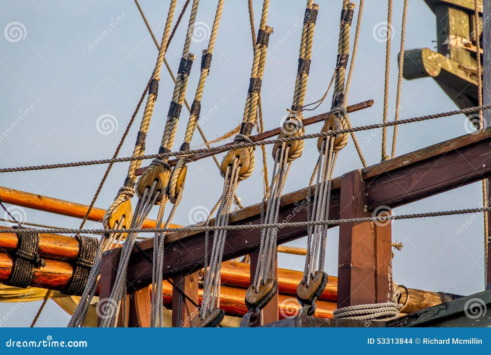 Planken, Seile, Flaschenzüge, Gerät und Takelung einer Replik eines Segelschiffs der Ära 1400 s
